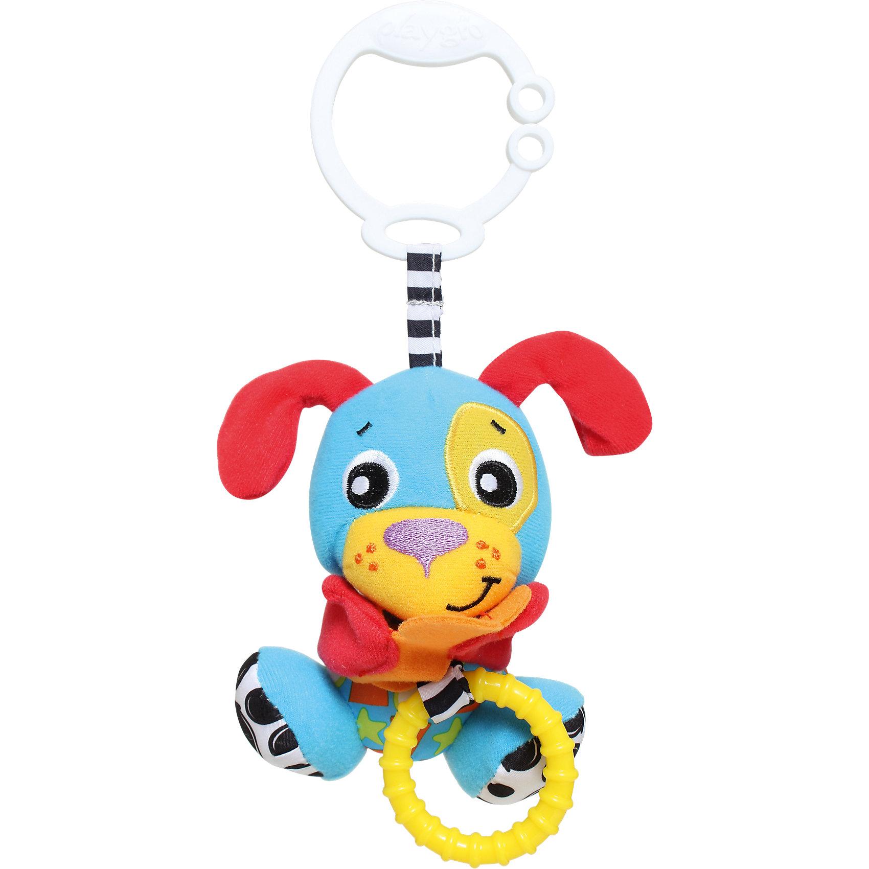 Игрушка-подвеска Щенок, PlaygroПодвески<br>Яркая подвеска со вставками из разных по фактуре материалов и пластиковым прорезывателем обязательно привлечет внимание малышей! Как только кроха отнимет косточку у щенка, потянув за кольцо, она  вернется в исходное положение с вибрирующим эффектом. С помощью крепления в виде кольца игрушку можно надежно зафиксировать на коляске, кроватке, манеже, игровом центре. Игрушка способствует развитию моторики, тактильных ощущений, причинно-следственных связей.<br><br>Дополнительная информация:<br><br>- Материал: пластик, текстиль.<br>- Размер упаковки: 12х8,5х26 см.<br>- Удобное крепление в виде кольца.<br><br>Игрушку-подвеску Щенок, Playgro (Плейгро), можно купить в нашем магазине.<br><br>Ширина мм: 157<br>Глубина мм: 126<br>Высота мм: 93<br>Вес г: 75<br>Возраст от месяцев: 0<br>Возраст до месяцев: 12<br>Пол: Унисекс<br>Возраст: Детский<br>SKU: 4729141