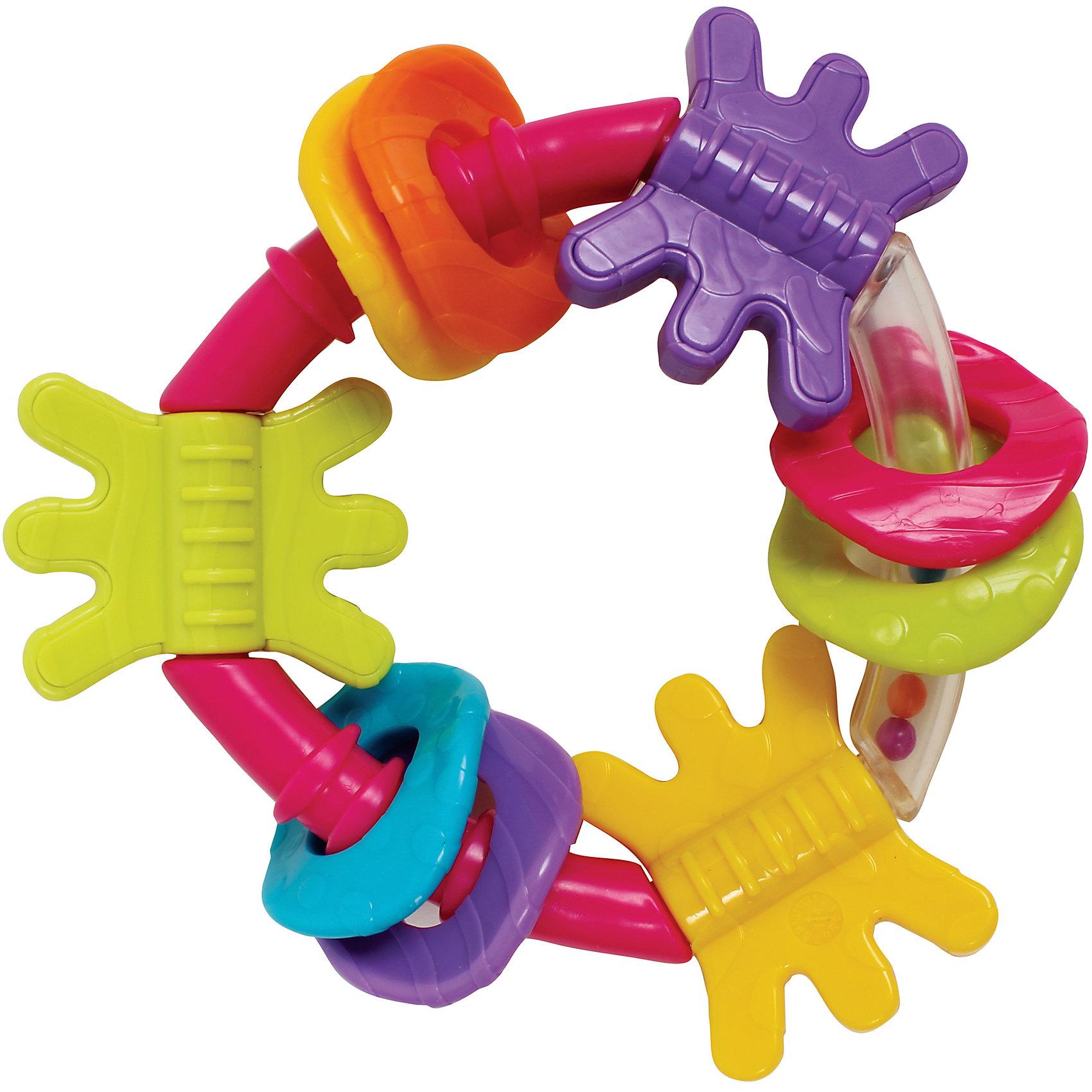 Игрушка-погремушка, PlaygroРазвивающие игрушки<br>Оригинальная треугольная погремушка с закругленными углами привлечет внимание любого малыша. Основание выполнено из  пластика с разноцветными шариками внутри - они начинают перекатываться и греметь, как только малыш берет игрушку в руки. Также на ней расположены 9 разноцветных прорезывателей, которые можно передвигать и вращать. Погремушка выполнена из высококачественных экологичных материалов безопасных для детей, способствует развитию тактильных ощущений и цветового восприятия. <br><br>Дополнительная информация:<br><br>- Материал: пластик.<br>- Размер: 11х4х16  см.<br><br>Игрушку-погремушку, Playgro (Плейгро), можно купить в нашем магазине.<br><br>Ширина мм: 110<br>Глубина мм: 40<br>Высота мм: 160<br>Вес г: 60<br>Возраст от месяцев: 3<br>Возраст до месяцев: 24<br>Пол: Унисекс<br>Возраст: Детский<br>SKU: 4729142