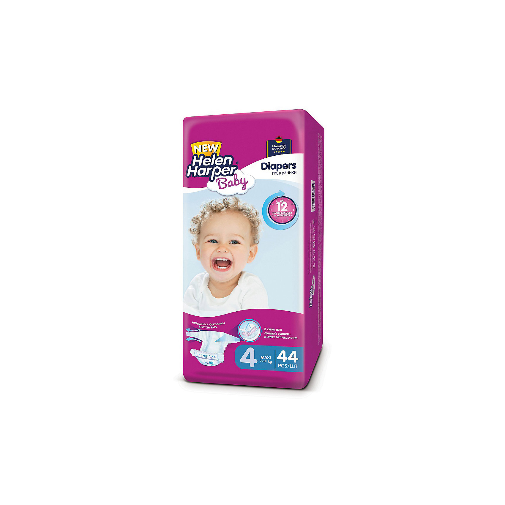 Подгузники Maxi Helen Harper Baby 7-14 кг., 44 шт.Детские подгузники Helen Harper Baby отличаются красочным дизайном и превосходным качеством. Они выполнены из гипоаллергенного дышащего материала без отдушек и ароматизаторов, имеют многоразовые застежки-липучки с пониженным уровнем шума. Уникальная система впитывания надежно удерживает жидкость внутри подгузника, превращая ее в гель и защищая от протеканий. Мягкий внутренний слой препятствует возникновению раздражений на нежной коже малыша и обеспечивает дополнительный комфорт. Благодаря эластичным боковинам и особой анатомической форме подгузник хорошо прилегает к телу ребенка, при этом не стягивает и не натирает кожу.<br><br>Особенности:<br>Высокая впитываемость (система Dry Feel).<br>Внутренний мягкий слой подгузника препятствует возникновению раздражений и опрелостей.<br>Многоразовая застежка-липучка обеспечивает удобство в использовании.<br>Превосходно сидят благодаря анатомической форме подгузника.<br>Эластичные дышащие боковые оборочки препятствуют проникновению влаги наружу.<br>Выполнены из дышащего гипоаллергенного материала.<br><br>Ширина мм: 600<br>Глубина мм: 600<br>Высота мм: 200<br>Вес г: 1683<br>Возраст от месяцев: 6<br>Возраст до месяцев: 24<br>Пол: Унисекс<br>Возраст: Детский<br>SKU: 4729780