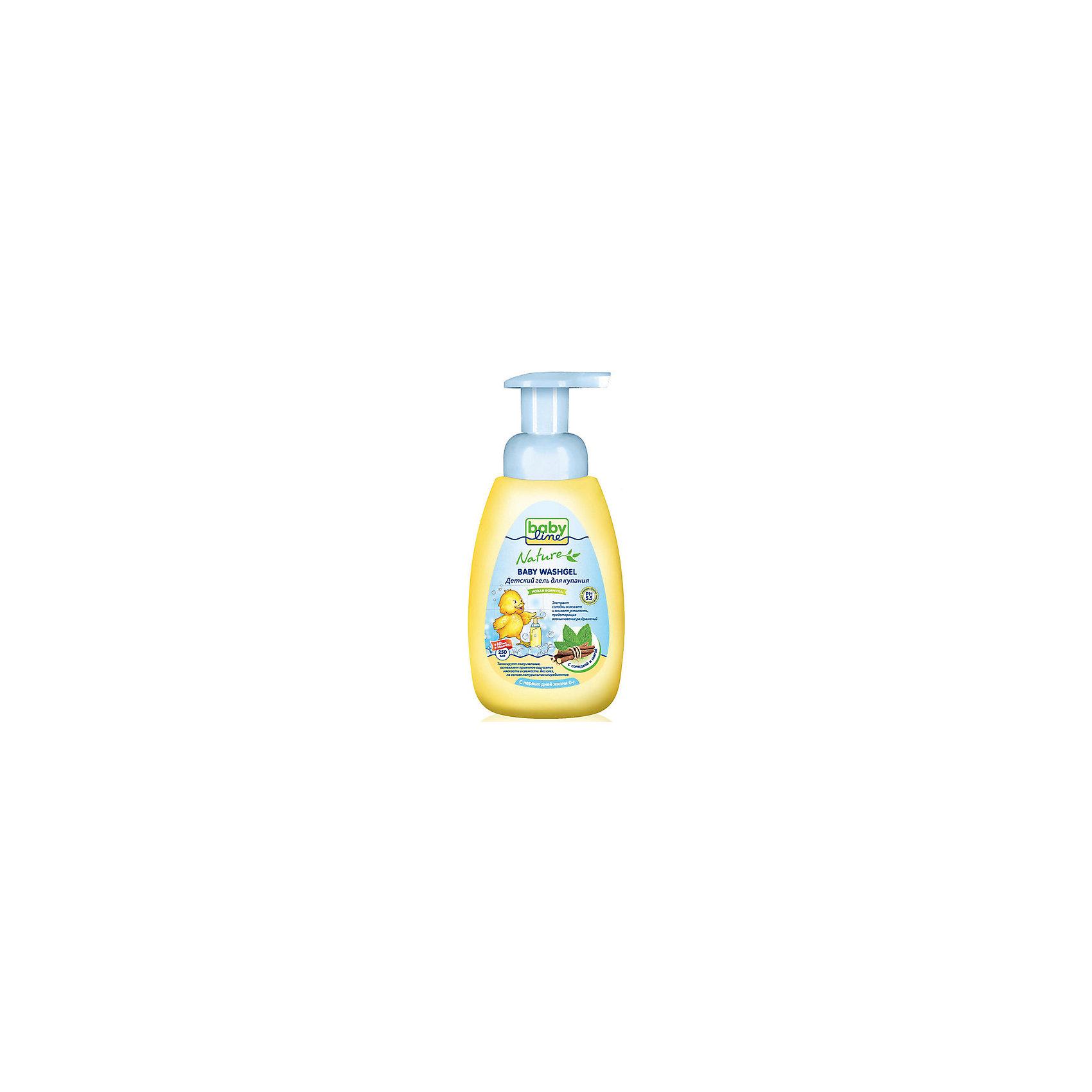 Гель для купания с мятой и солодкой, Babyline, 500 мл.Гель для купания малыша Babyline / Baby Washgel 250 и 500 мл (с дозатором)<br>Нежнaя очистка без мыла с ромашкой, пантенолом и фруктовыми тензидами. <br>С пшеничными протеинами без мыла и красителей. <br>Гель для купания Babyline™ специально разработан для ежедневной очистки чувствительной кожи Вашего малыша. <br>Мягкие моющие компоненты с ароматом яблока для нежной очистки. Протестировано аллергологами.<br>Состав: вода, лаурил глюкозид, кокамидопропилбетаин, лаурилсаркозинат натрия, кокоил натрия гидролизованного пшеничного протеина, лимонная кислота, натрия кокоил яблочных аминокислот, феноксиэтанол, отдушка, метилпарабен, пантенол, пропилпарабен, ромашка, бисаболол.<br>Способ применения: Гель выдавить на руку или губку, вспенить и легкими массажными движениями нанести на кожу, после чего смыть водой.<br><br>Ширина мм: 93<br>Глубина мм: 56<br>Высота мм: 195<br>Вес г: 620<br>Возраст от месяцев: 0<br>Возраст до месяцев: 36<br>Пол: Унисекс<br>Возраст: Детский<br>SKU: 4729783