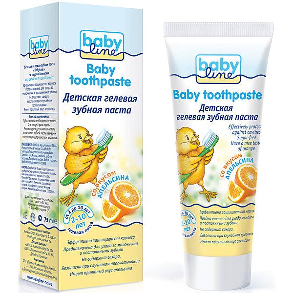Детская гелевая зубная паста со вкусом апельсина, Babyline,75 млДетская зубная паста<br>Детская  гелевая зубная паста 75 мл со вкусом апельсина, с низким содержанием фтора с 2-х лет<br><br>Ширина мм: 140<br>Глубина мм: 35<br>Высота мм: 45<br>Вес г: 75<br>Возраст от месяцев: 24<br>Возраст до месяцев: 120<br>Пол: Унисекс<br>Возраст: Детский<br>SKU: 4729797