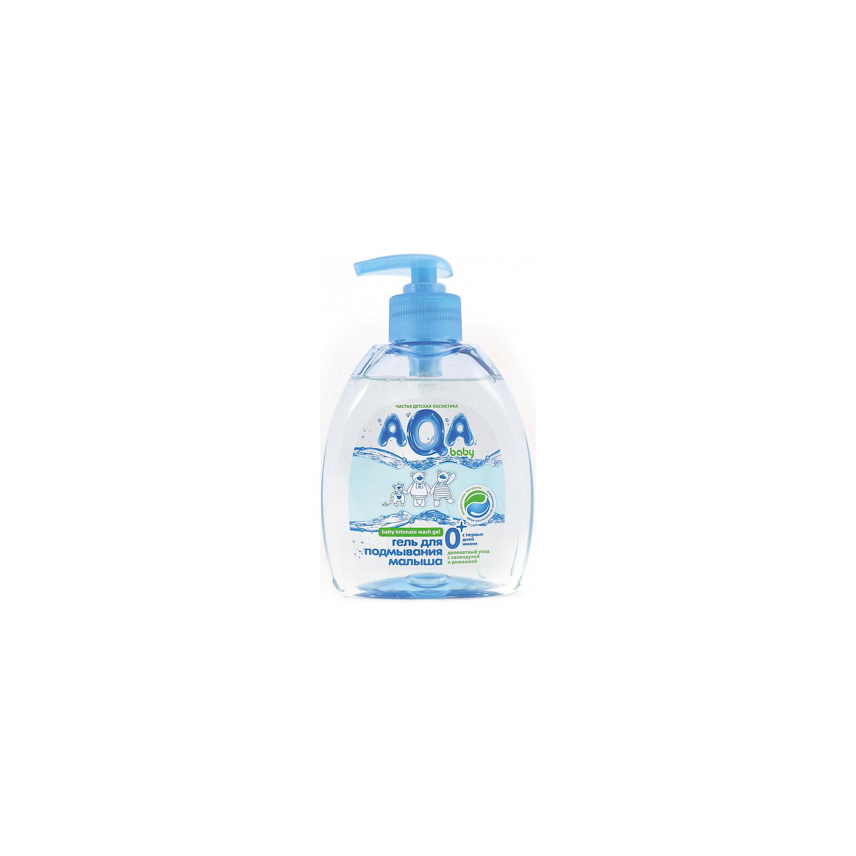 Гель для подмывания малыша, AQA babyКосметика для купания<br>Для ежедневной интимной гигиены малыша и мамы.<br>С молочной кислотой — поддерживает pH интимной зоны<br>С ромашкой и аллантоином<br>Без парабенов<br>На основе воды из артезианского источника<br>Без красителей<br>Гипоаллергенно<br>Деликатно очищает, не вызывает сухости и раздражения слизистой<br>Объем: 300 мл Гель AQA Baby для подмывания малыша с дозатором - это средство для подмывания малыша,  разработанное специально для чувствительной детской кожи младенцев.<br>С помощью мягких моющих компонентов и натуральных экстрактов очищает кожу младенца особенно нежно и бережно, увлажняя её.<br>Флакон с дозатором обеспечивает удобное и комфортное использование во время подмывания малыша.<br>Не вызывает сухости и раздражения слизистой.<br>Экстракты ромашки и календулы оказывают противовоспалительное действие.<br>Не содержит красителей.<br>Объем: 300 мл.<br> <br><br>Состав: вода, лаурет сульфат натрия, кокамидопропил бетаин, децилглюкозид, динатрия лауретсульфосукцинат, коко-глюкозид, глицерилолеат, глицерин, персиковое масло, Д-пантенол, аллантоин, хлорид натрия, динатрия эдетат, экстракт ромашки, экстракт календулы, экстракт лаванды, отдушка, лимонная кислота, бензиловый спирт, изотиазолинон.<br><br>Ширина мм: 145<br>Глубина мм: 500<br>Высота мм: 94<br>Вес г: 200<br>Возраст от месяцев: 0<br>Возраст до месяцев: 36<br>Пол: Унисекс<br>Возраст: Детский<br>SKU: 4729811