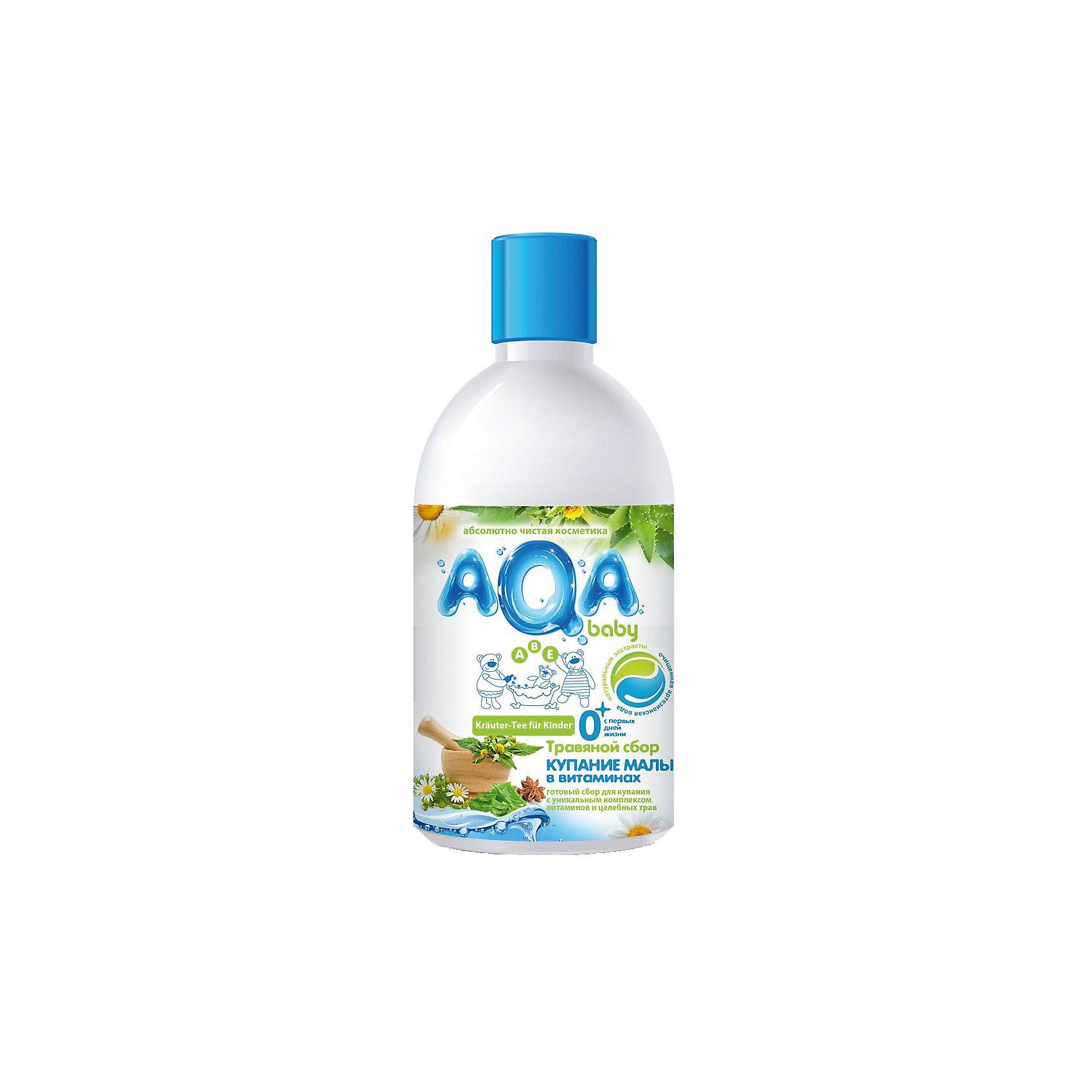 Травяной сбор для купания малышей Купание в витаминах, AQA baby, 300 млКосметика для купания<br>Готовый витаминно-травяной сбор для добавления в ванночку для купания.<br>Сохраняет до 95% активных компонентов благодаря инновационному методу экстрагирования, чего невозможно достичь при самостоятельном заваривании сухих трав<br>Поддерживает иммунитет детской кожи<br>С комплексом витаминов А, Е, В5 и целебными травами череды и липы<br>С эфирными маслами ромашки аптечной и аниса<br>Экономичен: одного флакона хватает на 15 процедур!<br>Объем: 300 мл<br><br>Ширина мм: 165<br>Глубина мм: 500<br>Высота мм: 61<br>Вес г: 160<br>Возраст от месяцев: 0<br>Возраст до месяцев: 36<br>Пол: Унисекс<br>Возраст: Детский<br>SKU: 4729817