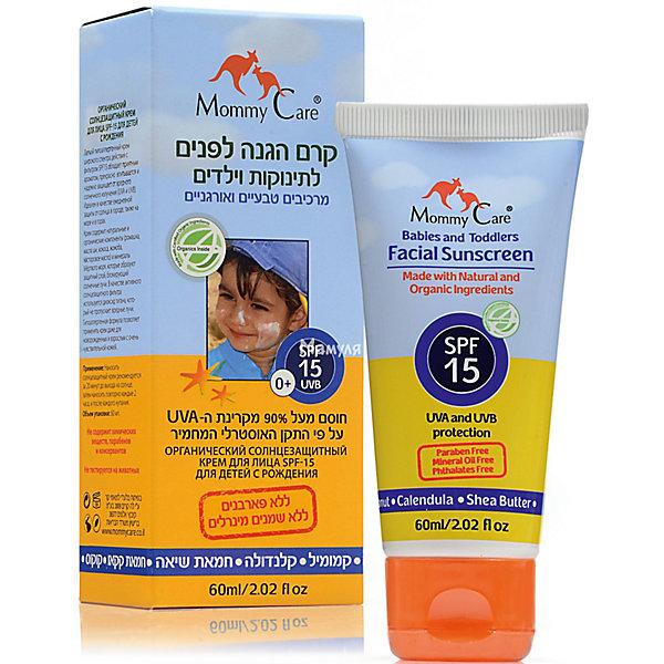 Органический солнцезащитный крем для лица SPF15, Mommy Care, 60 мл.Косметика для малыша<br>Подходит малышам с рождения, а также беременным и кормящим женщинам<br><br>-  Идеален для города; при более частом нанесении прекрасно защищает и на море. Можно наносить на лицо<br><br>-  Гипоаллергенно. Подходит людям с очень чувствительной кожей<br><br>-  Широкий спектр действия: защищает от UVA- и UVB-излучения<br><br>-  Не содержит химических фильтров, парабенов<br><br>-  Удобный объем упаковки: идеален для сумочки, всегда можно брать с собой на прогулку.<br><br>Крем со средней степенью защиты от солнца SPF15 идеален для городских условий, а такие натуральные компоненты, как ромашка и календула, масла какао и жожоба, а также кокоса, обеспечивают естественную защиту кожи ребенка от вредного воздействия солнечных лучей и успокаивают кожу.<br><br>Он одинаково хорош как для тела, так и лица, а гипоаллергенная формула позволяет применять его даже для новорожденных и взрослых с очень чувствительной кожей.<br><br>Обладая приятным запахом, он равномерно распределяется по коже и хорошо впитывается, не оставляя при этом жирной пленки.<br><br>Не содержит химических добавок, парабенов и консервантов.<br><br>Применение: Нанесите небольшое количество крема на открытые участки кожи Вашего ребенка за полчаса до выхода на солнце. Повторяйте процедуру каждые два часа, а если ребенок потеет или купается, то чаще.<br><br>Объем упаковки: 100 мл<br><br>Состав: Aqua, Isopropyol Miristate, Glycerin, Titanium Dioxide, Cetyl Alcohol, Butyrospermum Parkii (Shea Butter) Fruit*, Theobroma Cacao seed oil, Cocos Nucifera (coconut) oil, Helianthus Annuus (sunflower) seed oil, Simmondsia chineses (jojoba) oil*, Sorbitan Olivate, Ricinus Communis (Castor) Seed Oil, Sodium Dehydroacetate, Fragrance (supplement),  Tocopheryl acetate, Xanthan Gum, Calendula officinalis oil, Chamomile anthemis nobilis oil, Cetearyl Alcohol,   Cetearyl Glucoside, Gluconolactone, Sodium Benzoate.<br><br>* органические ингредиент