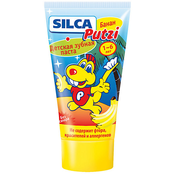 Зубная паста банан (без фтора) от 1 до 6 лет, Silca, 50 мл.Детская зубная паста<br>Объяснить ребенку необходимость ежедневного ухода за зубами важно с самого раннего возраста — это залог красивой улыбки и уверенности в себе на всю жизнь. Специально для самых маленьких, которые только начинают осваивать азы чистки зубов, создана детская зубная паста «SILCA Putzi Банан (без фтора)»<br><br>SILCA Putzi Банан (Без фтора). От 1 до 6 лет.<br><br>Создана специально для самых маленьких.<br>Благодаря отсутствию фтора, красителя и аллергенов абсолютно безопасна для ребенка даже при проглатывании и может быть использована в областях с повышенным содержанием фтора в питьевой воде.<br>Низкоабразивная гипоаллергенная рецептура бережно ухаживает за неокрепшей эмалью молочных зубов.<br>Сладкий банановый вкус нравится малышам и позволяет максимально быстро привить ребенку привычку чистить зубы самостоятельно.<br>Текст на упаковке:<br>Специально разработанная низкоабразивная рецептура на основе диоксида кремния нежно очищает неокрепшую эмаль  молочных зубов. Не содержит фтора, красителей, лаурилсульфата натрия, ментола и сахара. Рекомендуется для обучения детей чистке зубов и для регионов с повышенным содержанием фтора в воде.<br>Рекомендовано детям от 1 до 6 лет.<br><br>Состав: Aqua, Sorbitol, Hydrated Silica, Propylene Glycol, Silica, Aroma, Cellulose Gum, Sodium C14-16 Olefin Sulfonate, Tetrapotassium Pyrophosphate, Titanium Dioxide, Limonene, Sodium Saccharin, Sodium Methylparaben<br><br>Двойная чистящая система контролируемой абразивности (RDA 40): диоксид кремния + диоксид кремния.<br><br>Активные компоненты: пирофосфат калия, лимонен.<br><br>Вкус и запах: банан.<br><br>Цвет: белый.<br><br>Ширина мм: 143<br>Глубина мм: 500<br>Высота мм: 60<br>Вес г: 580<br>Возраст от месяцев: 12<br>Возраст до месяцев: 72<br>Пол: Унисекс<br>Возраст: Детский<br>SKU: 4729845