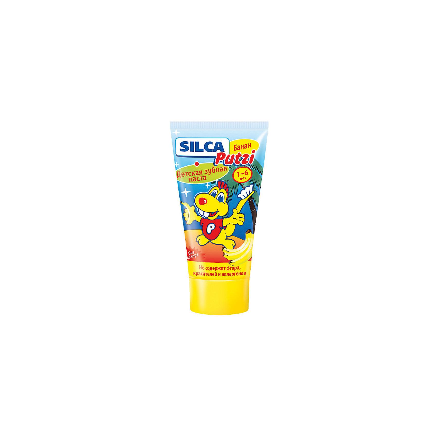 Зубная паста банан (без фтора) от 1 до 6 лет, Silca, 50 мл.Зубные пасты<br>Объяснить ребенку необходимость ежедневного ухода за зубами важно с самого раннего возраста — это залог красивой улыбки и уверенности в себе на всю жизнь. Специально для самых маленьких, которые только начинают осваивать азы чистки зубов, создана детская зубная паста «SILCA Putzi Банан (без фтора)»<br><br>SILCA Putzi Банан (Без фтора). От 1 до 6 лет.<br><br>Создана специально для самых маленьких.<br>Благодаря отсутствию фтора, красителя и аллергенов абсолютно безопасна для ребенка даже при проглатывании и может быть использована в областях с повышенным содержанием фтора в питьевой воде.<br>Низкоабразивная гипоаллергенная рецептура бережно ухаживает за неокрепшей эмалью молочных зубов.<br>Сладкий банановый вкус нравится малышам и позволяет максимально быстро привить ребенку привычку чистить зубы самостоятельно.<br>Текст на упаковке:<br>Специально разработанная низкоабразивная рецептура на основе диоксида кремния нежно очищает неокрепшую эмаль  молочных зубов. Не содержит фтора, красителей, лаурилсульфата натрия, ментола и сахара. Рекомендуется для обучения детей чистке зубов и для регионов с повышенным содержанием фтора в воде.<br>Рекомендовано детям от 1 до 6 лет.<br><br>Состав: Aqua, Sorbitol, Hydrated Silica, Propylene Glycol, Silica, Aroma, Cellulose Gum, Sodium C14-16 Olefin Sulfonate, Tetrapotassium Pyrophosphate, Titanium Dioxide, Limonene, Sodium Saccharin, Sodium Methylparaben<br><br>Двойная чистящая система контролируемой абразивности (RDA 40): диоксид кремния + диоксид кремния.<br><br>Активные компоненты: пирофосфат калия, лимонен.<br><br>Вкус и запах: банан.<br><br>Цвет: белый.<br><br>Ширина мм: 143<br>Глубина мм: 500<br>Высота мм: 60<br>Вес г: 580<br>Возраст от месяцев: 12<br>Возраст до месяцев: 72<br>Пол: Унисекс<br>Возраст: Детский<br>SKU: 4729845