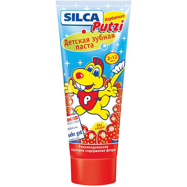 Зубная паста клубничная от 2 до 12 лет, Silca, 75 мл.Детская зубная паста<br>Выбирая зубную пасту для ребенка, необходимо учитывать, что детская незрелая эмаль тонкая и мягкая, а десны и слизистые оболочки полости рта — чувствительные и легкоранимые.<br><br>SILCA Putzi Клубничная. От 2 до 12 лет.<br><br>Разработана специально с учетом особенностей ухода за смешанными (молочными и постоянными) зубами.<br>Низкая абразивность чистящей основы и оптимальное для детских зубов содержание фтора позволяют бережно очищать зубки и надежно защищать их от кариеса.<br>Яркий розовый цвет и сочный клубничный вкус пасты вызывают у детей положительные эмоции, стимулируя к регулярной чистке зубов.<br>Текст на упаковке:<br>Специально разработанная низкоабразивная рецептура на основе диоксида кремния нежно очищает неокрепшую эмаль  детских зубов. Оптимальное содержание фтора надежно защищает молочные и постоянные зубы от кариеса. Вкус свежей клубники превращает процедуру чистки зубов в настоящее удовольствие.                   <br>Массовая доля фторида – 0,05% (F-). <br>Рекомендовано детям от 2 до 12 лет.<br><br>Состав: Aqua, Sorbitol, Hydrated Silica, Propylene Glycol, Silica, Aroma, Cellulose Gum, Titanium Dioxide, Cocamidopropyl Betaine, Sodium Monofluorophosphate, Sodium Saccharin, Sodium Methylparaben, Cl 75470<br><br>Двойная чистящая система контролируемой абразивности (RDA 47): диоксид кремния + диоксид кремния.<br><br>Активные компоненты: монофторфосфат натрия. <br>Массовая доля фторида – 0,05% (F?).<br><br>Вкус и запах: клубника.<br><br>Цвет: розовый.<br><br>Ширина мм: 55<br>Глубина мм: 35<br>Высота мм: 135<br>Вес г: 270<br>Возраст от месяцев: 24<br>Возраст до месяцев: 144<br>Пол: Унисекс<br>Возраст: Детский<br>SKU: 4729846