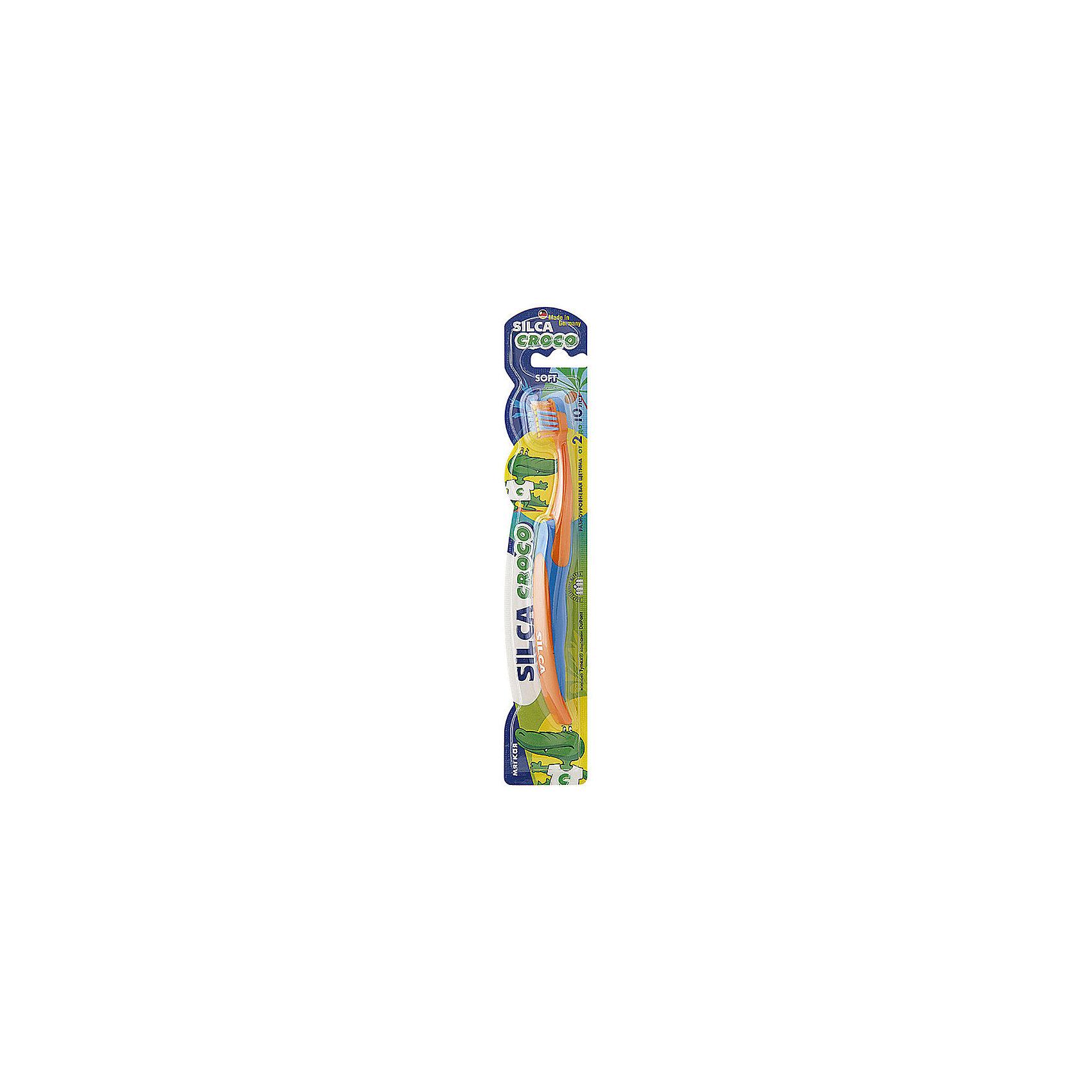 Зубная щетка CROCO 2-10 лет, Silca, в ассорт.Зубные щетки<br>Детская зубная щетка мягкая<br>Soft. От 2 до 10 лет<br>SILCA CROCO – зубная щетка для детей от 2 до 10 лет. Мягкие, тщательно отшлифованные и закругленные на кончиках щетинки расположены под различным углом к чистящей головке: внутренний ряд эффективно и бережно чистит жевательную поверхность зубов, внешний ряд более длинных щетинок очищает межзубные промежутки и нежно массирует десны. Массивная ручка с вставками из приятного на ощупь рифленого пластика не позволяет щетке выскальзывать из рук. Подходит для ухода за смешанными зубами.<br><br>Текст на упаковке<br><br>Укороченная головка щетки с разноуровневой мягкой щетиной и широкой мягкой окантовкой обеспечивает бережный уход за зубами и деснами.<br><br>Силовой выступ предназначен для очищения межзубных промежутков и труднодоступных мест.<br><br>Короткие щетинки основного чистящего поля эффективно удаляют налет с жевательных поверхностей.<br><br>Удлиненные наклонные внешние щетинки очищают гладкие поверхности, десневой желобок и мягко массируют десны.<br><br>Абсолютно закругленная щетина не травмирует десны. При производстве щетины используется высококачественное волокно Tynex компании DuPont.<br><br>Удобная трехкомпонентная ручка с упором для большого пальца и нескользящим покрытием.<br><br>Состав:<br><br>Ручка: HP 100-GA 04; ТПЭ Thermolast TF 5 ECN<br><br>Щетина: волокно TYNEX полиамид 6.12<br><br>Ширина мм: 43<br>Глубина мм: 20<br>Высота мм: 240<br>Вес г: 127<br>Возраст от месяцев: 24<br>Возраст до месяцев: 120<br>Пол: Унисекс<br>Возраст: Детский<br>SKU: 4729849