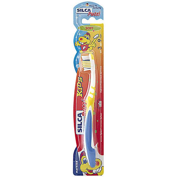 Зубная щетка Kids 3-9 лет, Silca, в ассорт.Зубные щетки<br>Детская зубная щетка мягкая<br>Soft. От 3 до 9 лет<br>SILCA Putzi Kids – зубная щетка оригинального дизайна для детей от 3 до 9 лет. Маленькая головка и мягкая щетина идеально подходит для ежедневного ухода за молочными и первыми постоянными зубами. Удобно изогнутая ручка выполнена из яркого, мягкого пластика. Необычное оформление щетки привлекает внимание детей, превращая щетку в любимую игрушку и делая процесс чистки зубов увлекательным. Щетка доступна в различных цветовых вариантах.<br><br>Текст на упаковке<br><br>Укороченная головка щетки с разноуровневой мягкой щетиной и широкой мягкой окантовкой обеспечивает бережный уход за молочными и первыми постоянными зубами.<br><br>Силовой выступ предназначен для очищения межзубных промежутков и труднодоступных мест.<br><br>Короткие щетинки основного чистящего поля эффективно удаляют налет с жевательных поверхностей.<br><br>Удлиненные наклонные внешние щетинки очищают гладкие поверхности, десневой желобок и мягко массируют десны.<br><br>Абсолютно закругленная щетина не травмирует десны. При производстве щетины используется высококачественное волокно Tynex компании DuPont.<br><br>Эргономичная трехкомпонентная ручка с упором для большого пальца, нескользящим покрытием и мягким закругленным кончиком.<br><br>Состав:<br><br>Ручка: полипропилен BP 100-CB 25; ТПЭ Thermolast TF 3 CGN и TF 5 ECN<br><br>Щетина: волокно TYNEX полиамид 6.12<br><br>Ширина мм: 43<br>Глубина мм: 20<br>Высота мм: 240<br>Вес г: 122<br>Возраст от месяцев: 36<br>Возраст до месяцев: 108<br>Пол: Унисекс<br>Возраст: Детский<br>SKU: 4729850