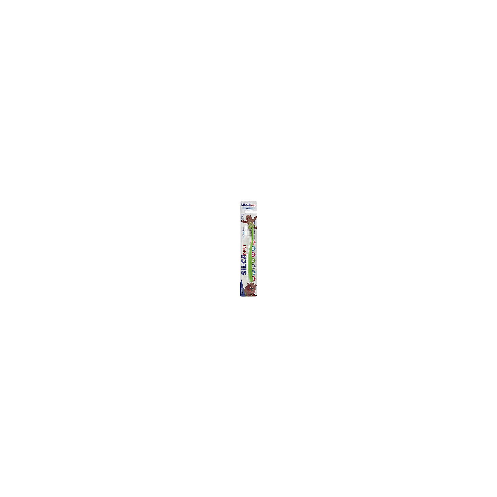 Зубная щетка 2-7 лет, Silca, в ассортиментеЗубные щетки<br>Зубная щетка мягкая. Soft. От 2 до 7 лет.<br>SILCADENT ДЕТСКАЯ – зубная щетка для детей от 2 до 7 лет. Мягкая щетина с тщательно закругленными кончиками эффективно удаляет зубной налет, не повреждая незрелую эмаль молочных зубов. Массивная рельефная ручка щетки позволяет ребенку удобно держать щетку во время чистки зубов, способствуя развитию навыков самостоятельной гигиены полости рта. Щетка представлена в различных цветовых вариантах – ребенок может выбрать понравившийся цвет из широкой палитры ярких оттенков.<br><br>Оптимальной формы головка с тщательно закругленной щетиной обеспечивает бережный уход за зубами и не травмирует чувствительные детские десны. При производстве щетины используется высококачественное волокно Nylon компании DuPont.<br><br>Оригинальная массивная ручка с волнистой поверхностью для фиксации пальчиков.<br><br>Ручка: полипропилен, термопластический эластомер.<br><br>Щетина: волокно Nylon полиамид 6.10<br><br>Ширина мм: 43<br>Глубина мм: 20<br>Высота мм: 150<br>Вес г: 266<br>Возраст от месяцев: 24<br>Возраст до месяцев: 84<br>Пол: Унисекс<br>Возраст: Детский<br>SKU: 4729851