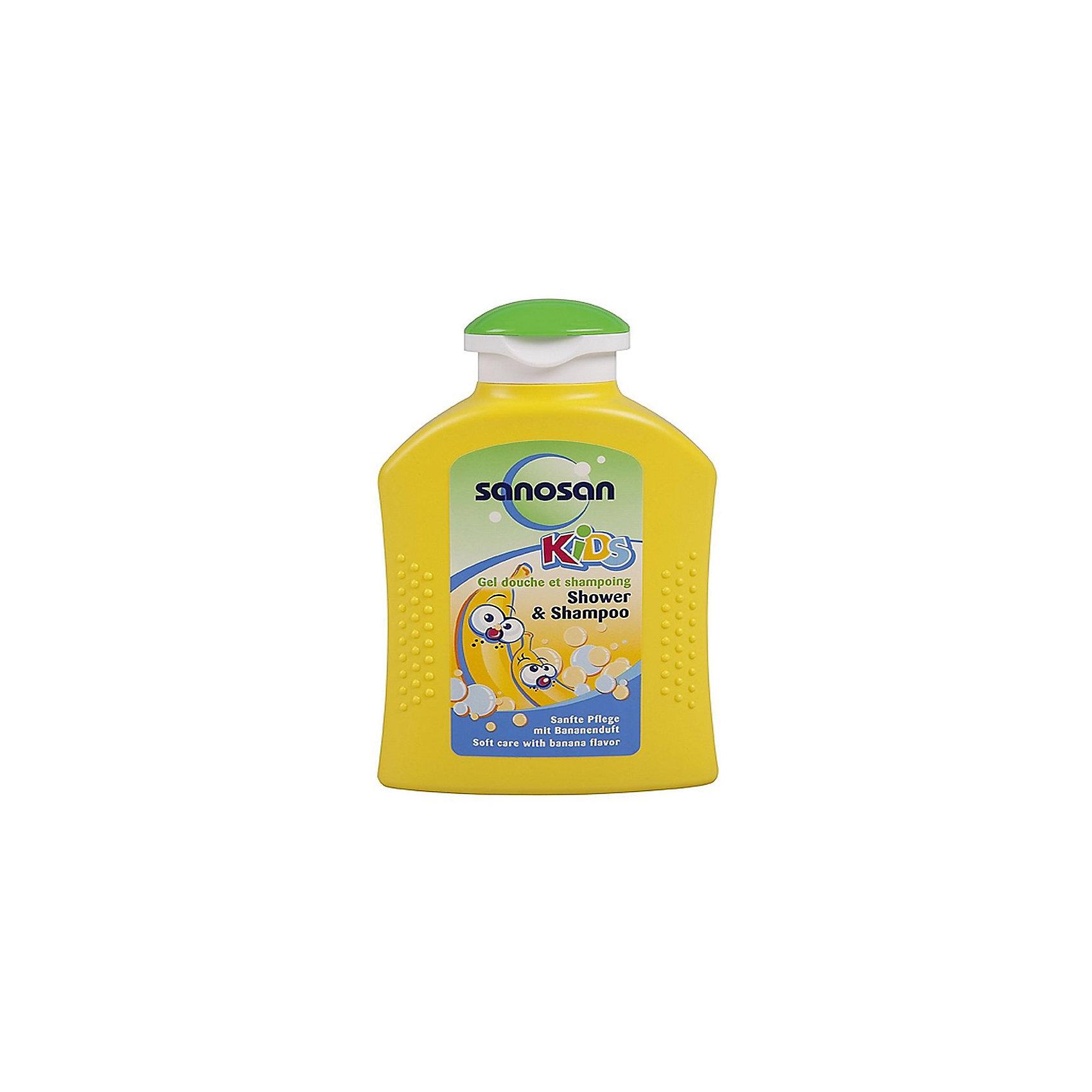Гель для душа  и шампунь с ароматом банана, Sanosan, 200 млКосметика для купания<br>sanosan kids Гель для душа и шампунь с ароматом банана<br>Благодаря особенно мягкому составу очень бережно очищает и ухаживает за нежной кожей малыша. Мягкие детские волосы не путаются и легко расчесываются, приобретая шелковистый блеск.<br>Применение:<br>небольшое количество средства нанесите и равномерно распределите на теле и волосах, вспеньте и ополосните теплой водой. Протестировано дерматологами.<br>Ингредиенты:<br>AQUA, SODIUM COCAMPHOACETATE, DISODIUM COCOYL GLUTAMATE, GLYCERYL OLEATE, SODIUM CHLORIDE, COCO-GLUCOSIDE, CITRIC ACID, PARFUM, PHENOXYETHANOL, BENZYL ALCOHOL, POTASSIUM SORBATE, ALLANTOIN, DENATONIUM BENZOATE, CI 47005, CI 42090<br><br>Ширина мм: 143<br>Глубина мм: 500<br>Высота мм: 60<br>Вес г: 260<br>Возраст от месяцев: -2147483648<br>Возраст до месяцев: 2147483647<br>Пол: Унисекс<br>Возраст: Детский<br>SKU: 4729900