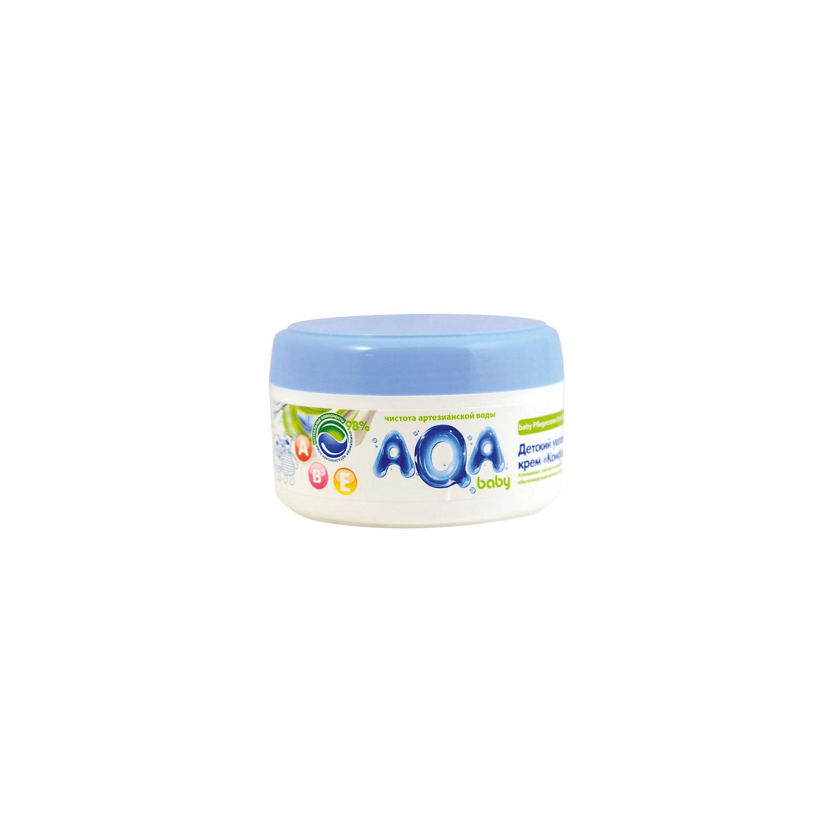 Детский увлажняющий крем Комфорт, AQA baby, 100 мл.Косметика для младнецев<br>AQA baby Детский увлажняющий крем Комфор крем идеален для ежедневного мягкого ухода за кожей крохи. Благодаря комбинации натурального масла подсолнечника с витаминами А, Е и В5 крем успокаивает, смягчает и снимает раздражение кожи. <br><br>Формула крема разработана на основе чистой артезианской воды и на 98% состоит из натуральных компонентов. Применение крема доставляет истинное наслаждение и комфортное ощущение нежной коже, средство легко наносится и полностью впитывается, не оставляя жирной пленки.<br><br>Особенности:<br>Подходит с первых дней жизни.<br>Содержит 98% натуральных компонентов.<br>Комбинация масла подсолнечника с витаминами А, Е и В5.<br>Глубоко увлажняет кожу, питает и поддерживает защитную функцию кожи.<br>Гипоаллергенный состав, не содержится силиконов, парабенов, феноксиэтанола, хлоризотиазолинона, галогенопроизводных компонентов и продуктов нефтепереработки.<br>Клинически протестирован дерматологами.<br><br>Способ применения: нанести тонким слоем на чистую сухую кожу малыша. Нежными массажными движениями равномерно распределить крем по телу и дать впитаться.<br><br>Состав:Aqua, Helianthus Annuus (Sunflower) Seed Oil, Caprylic/Capric Triglyceride, Hexyldecanol (and) Hexyldecyl Laurate, Glycerin, Cetearyl Alcohol, Glyceryl Stearate, Oleyl Erucate, Propylene glycol (and) Decylene glycol (and) Methylisothiazolinone, Disodium Cetearyl Sulfosuccinate, Sodium Polyacrylate, D-Pantenol, Retinyl Palmitate, Tocopheryl Acetate, PEG-40 Hydrogenated Castor Oil, BHT, Citric Acid, Propylene Glycol, Disodium EDTA, Parfum.<br><br>Ширина мм: 143<br>Глубина мм: 500<br>Высота мм: 60<br>Вес г: 100<br>Возраст от месяцев: -2147483648<br>Возраст до месяцев: 2147483647<br>Пол: Унисекс<br>Возраст: Детский<br>SKU: 4729902