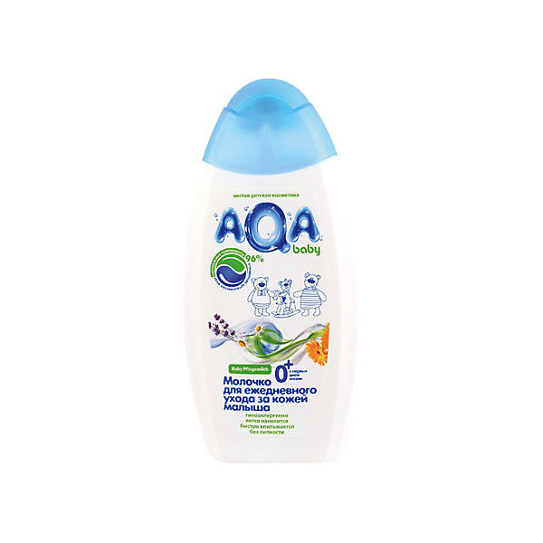 Молочко для ежедневного ухода за кожей малыша, AQA baby, 250 мл.Косметика для малыша<br>AQA baby Молочко для ежедневного ухода за кожей малыша подходит для очищения, увлажнения и питания кожи младенца. Благодаря комбинации натурального масла подсолнечника, экстракта ромашки, лаванды, календулы и бисаболола молочко оказывает противовоспалительное, антибактериальное и тонизирующее действия на кожу. <br><br>Формула средства разработана на основе очищенной артезианской воды и на 96% состоит из натуральных компонентов. Применение молочка доставляет истинное наслаждение и комфортное ощущение нежной коже, средство легко наносится и полностью впитывается, не оставляя жирной пленки.<br><br>Особенности:<br>Подходит с первых дней жизни.<br>Содержит 96% натуральных компонентов.<br>Комбинация масла подсолнечника, экстракта ромашки, лаванды, календулы и бисаболола.<br>Смягчает, увлажняет и успокаивает кожу.<br>Имеет легкую текстуру и отлично впитывается.<br>Гипоаллергенный состав, не содержится силиконов, парабенов, феноксиэтанола, хлоризотиазолинона, галогенопроизводных компонентов и продуктов нефтепереработки.<br>Клинически протестировано дерматологами.<br><br>Способ применения: по мере необходимости небольшое количество молочка нанести на чистую сухую кожу. Распределить по поверхности кожи до полного впитывания.<br><br>Состав: Aqua, Glycerin, Dibutyl Adipate, Hexyldecanol (and) Hexyldecyl Laurate, Caprylic/Capric Triglyceride, Glyceryl Stearate, Cetearyl Alcohol, Helianthus Annuus (Sunflower) Seed Oil, Propylene glycol (and) Decylene glycol (and) Methylisothiazolinone, Disodium Cetearyl Sulfosuccinate, Sodium Polyacrylate, Bisabolol, Matricaria Chamomilla Flower Extract, Calendula Officinalis Flower Extract, Lavender Flower Extract, Xanthan Gum, BHT, Citric Acid, Propylene Glycol, Disodium EDTA, Parfum.<br>Ширина мм: 143; Глубина мм: 500; Высота мм: 60; Вес г: 250; Возраст от месяцев: -2147483648; Возраст до месяцев: 2147483647; Пол: Унисекс; Возраст: Детский; SKU: 4729903;