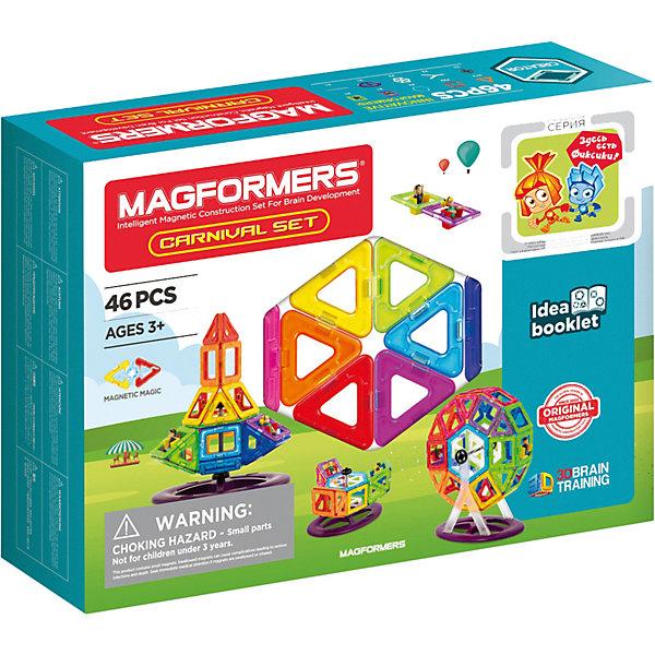 Магнитный конструктор Набор карнавал, MAGFORMERSМагнитные конструкторы<br>Магнитный конструктор Magformers Carnival Set (Магформерс Карнавал) — один из самых популярных и покупаемых в нашем магазине конструкторов. Он предназначен для детей от 2-х лет — ибо, как и все остальные конструкторы Magformers, не содержит мелких деталей, что делает его безопасным.<br>Название набора вполне соответствует его яркому, красочному наполнению. Разноцветные карусели, качели, таинственные космические корабли и даже животные легко получаются из комбинирования 46 плоских деталей. <br>В наборе Вы и Ваш ребенок также найдете специальную подставку для конструирования «Колеса обозрения». На него можно усадить закрепленные на специальных квадратах фигуры мальчика и девочку, сделав ее интерактивной. <br>Ваш ребенок узнает, что такое сбалансированность и сможет играть с довольно крепкими конструкциями. Ведь магниты в панельках сильные и делают фигуры устойчивыми.<br> <br>Такой конструктор понравится каждому ребенку. К тому же яркая упаковка помогает ему стать идеальным подарком!<br><br>Дополнительная информация:<br><br>- Количество деталей: 46 шт. <br>- Треугольники: 12 шт. <br>- Квадраты: 22 шт. <br>- Шестиугольники: 2 шт. <br>- Девочка: 1 шт. <br>- Мальчик: 1 шт. <br>- Y-крепление карусели: 2 шт. <br>- База карусели: 1 шт. <br>- Перекладина карусели: 1 шт. <br>- Фиксаторы: 2 шт. <br>- Шестиугольное крепление карусели: 2 шт.<br>- Возраст: от 2 лет <br>- Материал: прочный пластик.<br>- Размер упаковки: 33x25,5x8 см <br>- Вес в упаковке: 0,95 кг.<br><br>Купить магнитный конструктор Набор карнавал MAGFORMERS можно в нашем магазине.<br>Ширина мм: 340; Глубина мм: 250; Высота мм: 80; Вес г: 1150; Возраст от месяцев: 36; Возраст до месяцев: 192; Пол: Унисекс; Возраст: Детский; SKU: 4730839;