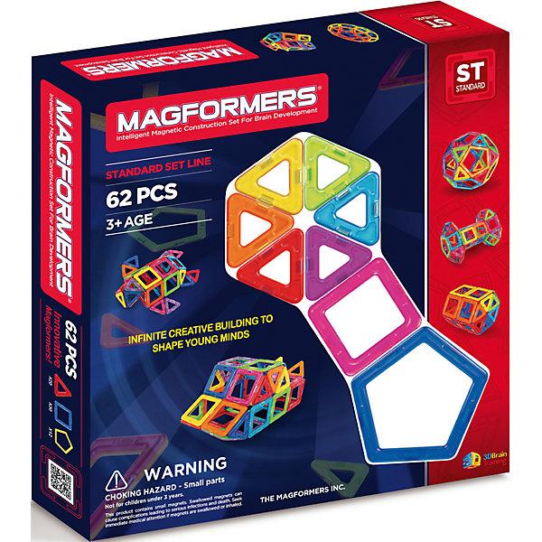 Магнитный конструктор 62, MAGFORMERSМагнитные конструкторы<br>Этот набор привлекателен большим количеством деталей. В него входят квадраты, треугольники и пятиугольники. Благодаря этому набору ребенок может делать не только технические постройки, но и животных, более сложные шары, которые начинаются с пятиугольников и при постепенном добавлении квадратов и треугольников превращаются во что-то сказочное и необычное.<br>Magformers-62 можно покупать для девочек и мальчиков любых возрастных категорий. Самые маленькие конструкторы могут попробовать создавать фигуры на плоской поверхности или, скажем, на магнитной. Набор можно применить даже в игре с малышом до года. Папы и мамы могут построить фигуры, которые ребёнок с невероятным удовольствием будет не только разглядывать, но и ломать. <br>Для детей более взрослого возраста к набору прилагается специальная книга предложений, которую можно применить для конструирования домов, башен, ракет, кораблей и так далее. Данный набор несомненно представляет собой не только увлекательную игру и забаву, но с его помощью развивается не только фантазия детей, но также улучшается его понимание пространственной геометрии.<br><br>Такой конструктор понравится каждому ребенку. К тому же яркая упаковка помогает ему стать идеальным подарком!<br><br>Дополнительная информация:<br><br>- Количество деталей: 62 шт. <br>- Треугольники: 20 шт. <br>- Квадраты: 30 шт. <br>- Пятиугольники: 12 шт. <br>- Возраст: от 3 лет <br>- Материал: прочный пластик <br>- Размер упаковки: 30,5x32x5 см <br>- Вес в упаковке: 1,14 кг. <br><br>Купить магнитный конструктор 62 MAGFORMERS можно в нашем магазине.<br><br>Ширина мм: 325<br>Глубина мм: 305<br>Высота мм: 50<br>Вес г: 1212<br>Возраст от месяцев: 36<br>Возраст до месяцев: 192<br>Пол: Унисекс<br>Возраст: Детский<br>SKU: 4730841