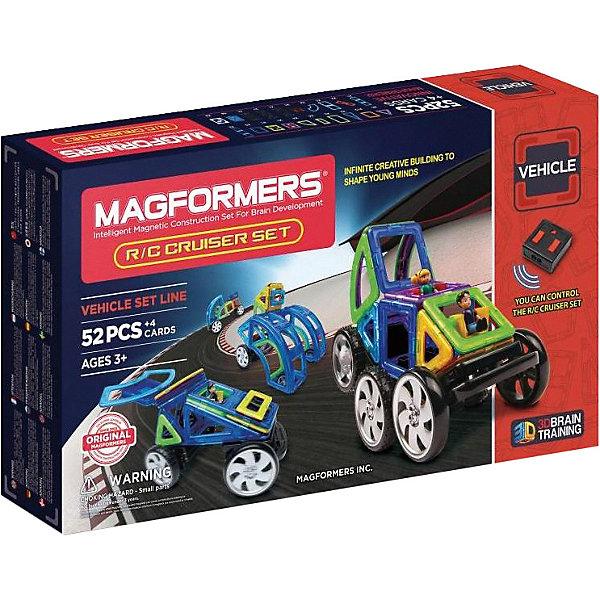 Магнитный конструктор Cruiser Set, на р/у,, MAGFORMERSМагнитные конструкторы<br>Этот набор относится к новому поколению наборов Магформерс! Он перевернет Ваше представление о моделировании машин. В комплект набора входят абсолютно новые платформы колес на радиоуправлении, и ваши модели обретут новую жизнь в движении! Набор удивит и новыми деталями, сложными геометрическими формами, что позволит Вашим моделям устремиться в будущее! Это набор поможет Вашему ребенку сделать новый виток в своем познании окружающего его мира геометрических фигур.<br>Помимо базовых квадратов и треугольников в этот набор входят такие необычные элементы, как сектор, суперсектор, суперпрямоугольник, арка и суперка, позволяющие фантазии ребенка развернуться во всю ширь. С этим набором легко собрать различные грузовики, гоночные автомобили, внедорожники и многое другое. Или же можно использовать воображение и сконструировать свой уникальный вид транспорта.<br>Изюминкой набора являются колеса и пульт дистанционного управления, которые приведут постройки в движение. C помощью пульта легко на расстоянии контролировать перемещение модели — можно устроить гонки с друзьями или же отправить машинку перевозить небольшие грузы. Помимо этого в набор входят и другие необычные аксессуары: фигуры мальчика и девочки и дорожные знаки.<br>Так же все детали Magformers R/C Cruiser на 100% совместимы с любыми другими наборами Магформерс, что позволяет дополнить уже существующую коллекцию и добавить любимым постройкам динамичности.<br><br>Дополнительная информация:<br><br>- Количество деталей: 52 шт. <br>-Треугольник: 6 шт. <br>- Равнобедренный треугольник: 2 шт. <br>- Квадрат: 12 шт. <br>- Прямоугольник: 1 шт. <br>- Суперпрямоугольник: 1 шт. <br>- Мини-прямоугольник: 4 шт. <br>- Сектор: 4 шт. <br>- Суперсектор: 4 шт. <br>- Арка: 2 шт. <br>- Суперарка: 2 шт. <br>- Девочка: 1 шт. <br>- Мальчик: 1 шт. <br>- Колесо: 2 шт. <br>- Пара колес: 1 шт. <br>- Поворотная ось: 1 шт. <br>- Управляемая ось с колесами: 1 шт. <br