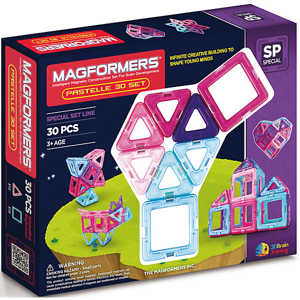 Магнитный конструктор  30 Pastelle, MAGFORMERSМагнитные конструкторы<br>Данный конструктор выполнен в эксклюзивном оформлении и представлен деталями в пастельных тонах. Нежный оттенок голубого и розового цвета, без сомнений, понравится каждой девочке. <br>С помощью данного комплекта юные леди смогут собрать красивый дом или замок для своей любимой куклы, волшебный шар, звезду или сердце. <br>Так же, конструктор полностью совместим с другими наборами от бренда Magformers. <br><br>Дополнительная информация:<br><br>- Количество деталей: 30 шт.<br>- Треугольники: 12 шт. <br>- Квадраты: 18 шт. <br>- Возраст: от 3 лет <br>- Материал: пластик <br>- Размер упаковки: 29х24х5 см <br>- Вес в упаковке: 0,6 кг. <br><br>Купить магнитный конструктор  30 Pastelle MAGFORMERS  можно в нашем магазине.<br><br>Ширина мм: 285<br>Глубина мм: 240<br>Высота мм: 50<br>Вес г: 540<br>Возраст от месяцев: 36<br>Возраст до месяцев: 192<br>Пол: Унисекс<br>Возраст: Детский<br>SKU: 4730844