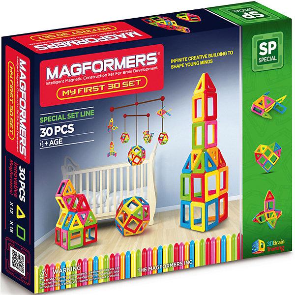Магнитный конструктор My First Magformers 30, MAGFORMERSМагнитные конструкторы<br>Уникальный в своем роде набор магнитного конструктора. Все дело в том, что в производстве деталей используется особо прочный пластик, устойчивый к механическим повреждениям. Именно этот конструктор получил возрастную категорию 0+ и может быть использован для игры детьми с рождения. В состав данного набора входит также отличное дополнение - специальная книга на пружинах с заданиями для вашего ребенка и набор ярких карточек с изображением построек из деталей магнитного конструктора Magformers. В книге для вас представлено множество развивающих загадок и заданий, что поможет родителям не только интересно провести с ребенком время за игрой, но также облегчит процесс интеллектуального развития малыша.<br><br>Дополнительная информация:<br><br>- Количество деталей: 30 шт. <br>- 12 треугольников; <br>- 18 квадратов. <br>- Возраст: от 1 года <br>- Материал: высококачественный пластик. <br>- Размер упаковки: 30х25х10 см <br>- Вес в упаковке: 0.7 кг. <br><br><br>Купить магнитный конструктор My First Magformers 30 MAGFORMERS   можно в нашем магазине.<br>Ширина мм: 265; Глубина мм: 210; Высота мм: 50; Вес г: 867; Возраст от месяцев: 18; Возраст до месяцев: 72; Пол: Унисекс; Возраст: Детский; SKU: 4730845;