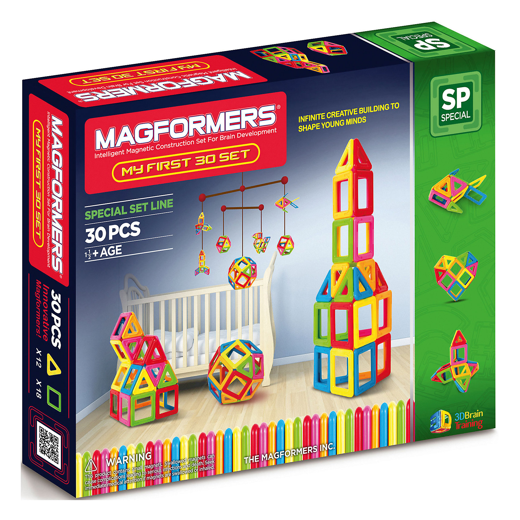 Магнитный конструктор My First Magformers 30, MAGFORMERSМагнитные конструкторы<br>Уникальный в своем роде набор магнитного конструктора. Все дело в том, что в производстве деталей используется особо прочный пластик, устойчивый к механическим повреждениям. Именно этот конструктор получил возрастную категорию 0+ и может быть использован для игры детьми с рождения. В состав данного набора входит также отличное дополнение - специальная книга на пружинах с заданиями для вашего ребенка и набор ярких карточек с изображением построек из деталей магнитного конструктора Magformers. В книге для вас представлено множество развивающих загадок и заданий, что поможет родителям не только интересно провести с ребенком время за игрой, но также облегчит процесс интеллектуального развития малыша.<br><br>Дополнительная информация:<br><br>- Количество деталей: 30 шт. <br>- 12 треугольников; <br>- 18 квадратов. <br>- Возраст: от 1 года <br>- Материал: высококачественный пластик. <br>- Размер упаковки: 30х25х10 см <br>- Вес в упаковке: 0.7 кг. <br><br><br>Купить магнитный конструктор My First Magformers 30 MAGFORMERS   можно в нашем магазине.<br><br>Ширина мм: 265<br>Глубина мм: 210<br>Высота мм: 50<br>Вес г: 867<br>Возраст от месяцев: 18<br>Возраст до месяцев: 72<br>Пол: Унисекс<br>Возраст: Детский<br>SKU: 4730845