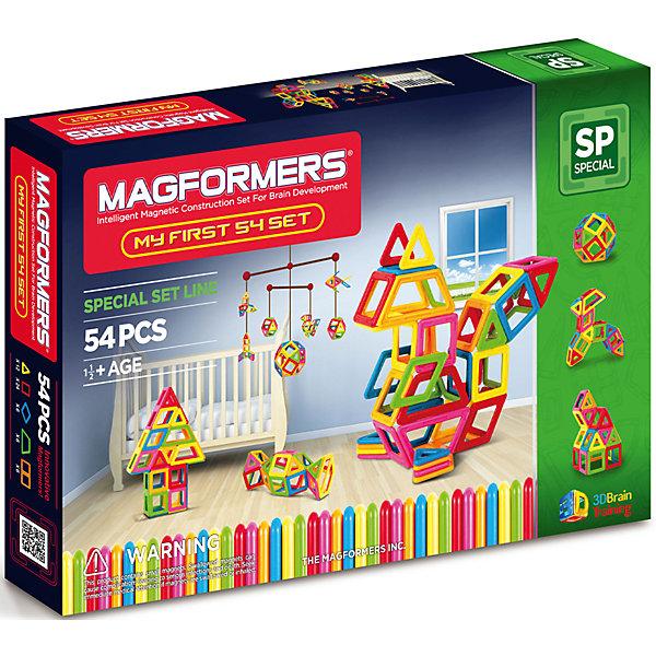 Магнитный конструктор My First Magformers 54, MAGFORMERSМагнитные конструкторы<br>Идеальный конструктор для семьи с детьми, среди которых есть малыши возрастом до одного года. Данный набор абсолютно безопасен для детей самой младшей возрастной категории, что подтверждено сертификатами и присвоением особой категории 0+. Крупные детали, отсутствие острых углов и гладкие детали делают детали данного набора приемлемыми для игры с детьми с рождения. Однако данный набор будет интересен и детям постарше, ведь они смогут выполнять разнообразные задания, изучать цвета, создавать аппликации на плоскости и объемные фигуры. В набор входят, помимо самих деталей, сразу две дополнительные вещи - это специальная книга с заданиями и набор больших красочных карточек.<br><br>Дополнительная информация:<br><br>- Количество деталей: 54 шт. <br>- 12 треугольников; <br>- 24 квадрата; <br>- 6 ромбов; <br>- 6 трапеций; <br>- 6 прямоугольников. <br>- Возраст: от 1 года <br>- Материал: высококачественный пластик <br>- Размер упаковки: 54х31х10 см <br>- Вес в упаковке: 1.5 кг. <br><br>Купить магнитный конструктор My First Magformers 54 MAGFORMERS   можно в нашем магазине.<br><br>Ширина мм: 380<br>Глубина мм: 255<br>Высота мм: 47<br>Вес г: 1408<br>Возраст от месяцев: 18<br>Возраст до месяцев: 72<br>Пол: Унисекс<br>Возраст: Детский<br>SKU: 4730846