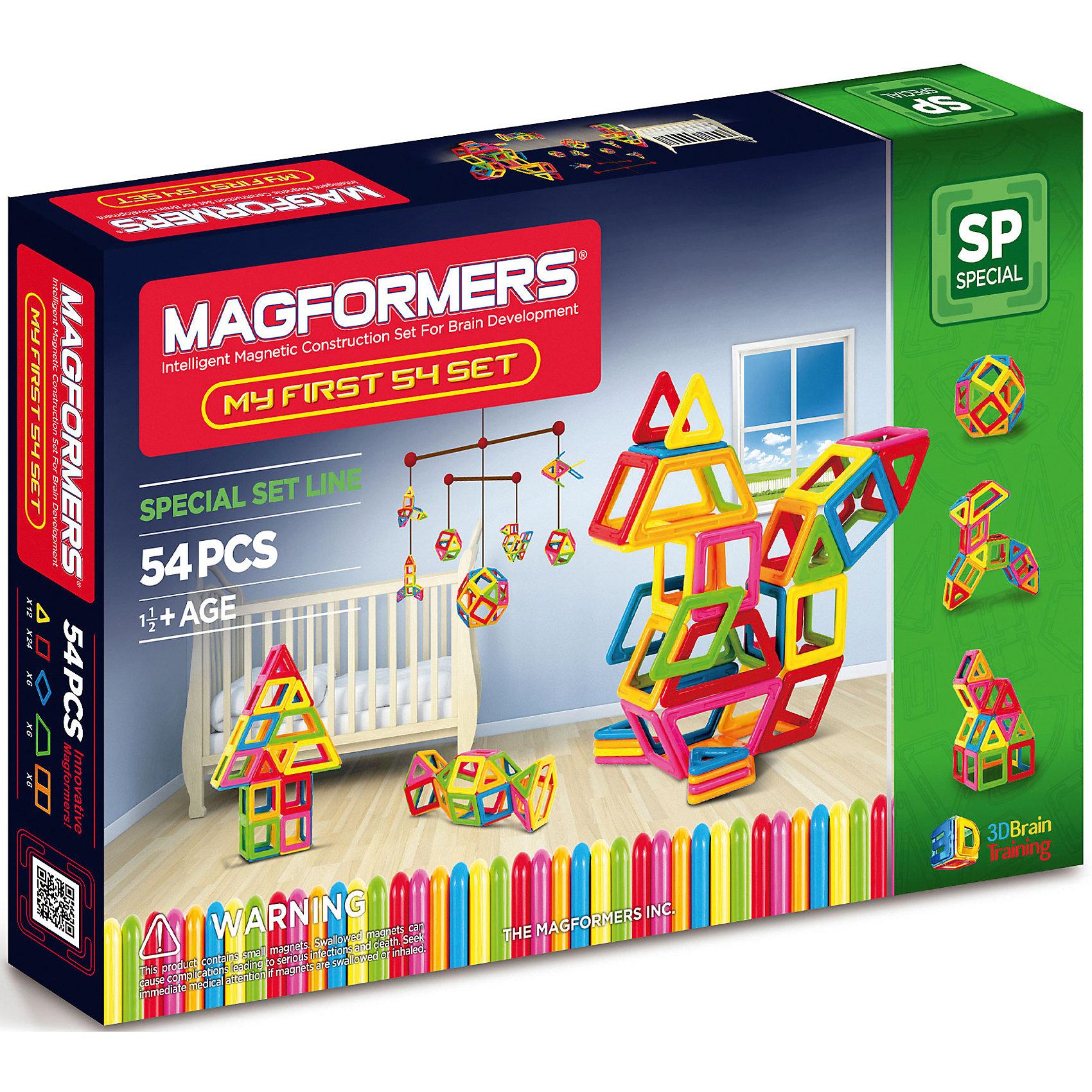 Магнитный конструктор My First Magformers 54, MAGFORMERSИдеальный конструктор для семьи с детьми, среди которых есть малыши возрастом до одного года. Данный набор абсолютно безопасен для детей самой младшей возрастной категории, что подтверждено сертификатами и присвоением особой категории 0+. Крупные детали, отсутствие острых углов и гладкие детали делают детали данного набора приемлемыми для игры с детьми с рождения. Однако данный набор будет интересен и детям постарше, ведь они смогут выполнять разнообразные задания, изучать цвета, создавать аппликации на плоскости и объемные фигуры. В набор входят, помимо самих деталей, сразу две дополнительные вещи - это специальная книга с заданиями и набор больших красочных карточек.<br><br>Дополнительная информация:<br><br>- Количество деталей: 54 шт. <br>- 12 треугольников; <br>- 24 квадрата; <br>- 6 ромбов; <br>- 6 трапеций; <br>- 6 прямоугольников. <br>- Возраст: от 1 года <br>- Материал: высококачественный пластик <br>- Размер упаковки: 54х31х10 см <br>- Вес в упаковке: 1.5 кг. <br><br>Купить магнитный конструктор My First Magformers 54 MAGFORMERS   можно в нашем магазине.<br><br>Ширина мм: 380<br>Глубина мм: 255<br>Высота мм: 47<br>Вес г: 1408<br>Возраст от месяцев: 18<br>Возраст до месяцев: 72<br>Пол: Унисекс<br>Возраст: Детский<br>SKU: 4730846