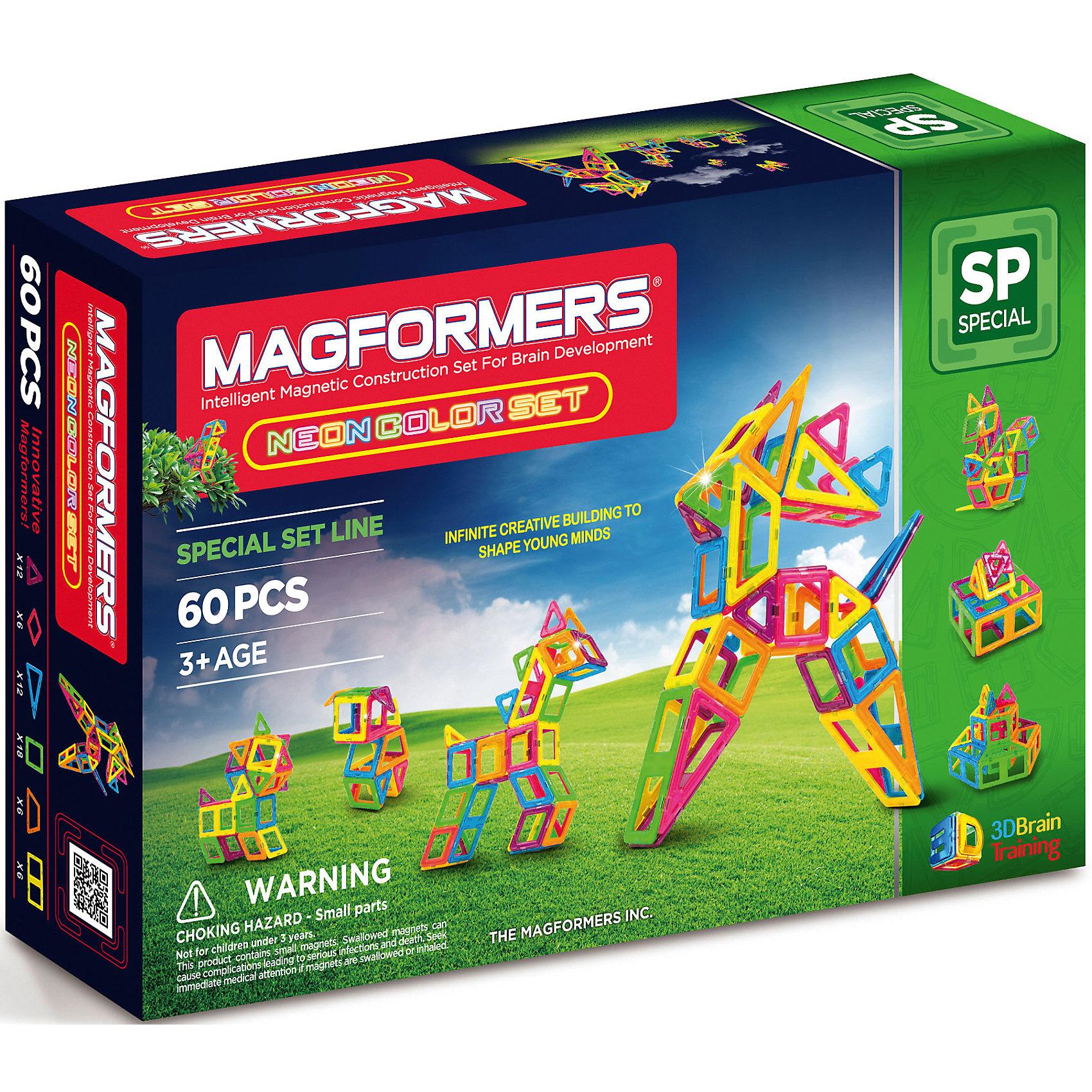 Магнитный конструктор Neon color set 60, MAGFORMERSЯркий цвет нового примечательного конструктора от Magformers привлечет внимание любого малыша! <br>Пластиковые элементы в количестве 60 штук могут использоваться совместно с деталями из аналогичного набора. Магформерс Неон Колор Сет 60 особенный и запоминающийся. <br>Он станет игрушкой номер один в коллекции вашего ребенка. <br><br>Дополнительная информация:<br><br>- Количество деталей: 60 шт. <br>- 12 треугольников; <br>- 18 квадратов; <br>- 6 ромбов; <br>- 6 трапеций; <br>- 6 прямоугольников; <br>- 12 равнобедренных треугольников. <br>- Возраст: от 3 лет <br>- Материал: высококачественный пластик <br>- Размер упаковки: 40х30х10 см <br>- Вес в упаковке: 0.91 кг <br><br>Купить магнитный конструктор Neon color set 60 MAGFORMERS   можно в нашем магазине.<br><br>Ширина мм: 390<br>Глубина мм: 260<br>Высота мм: 85<br>Вес г: 1250<br>Возраст от месяцев: 36<br>Возраст до месяцев: 192<br>Пол: Унисекс<br>Возраст: Детский<br>SKU: 4730847
