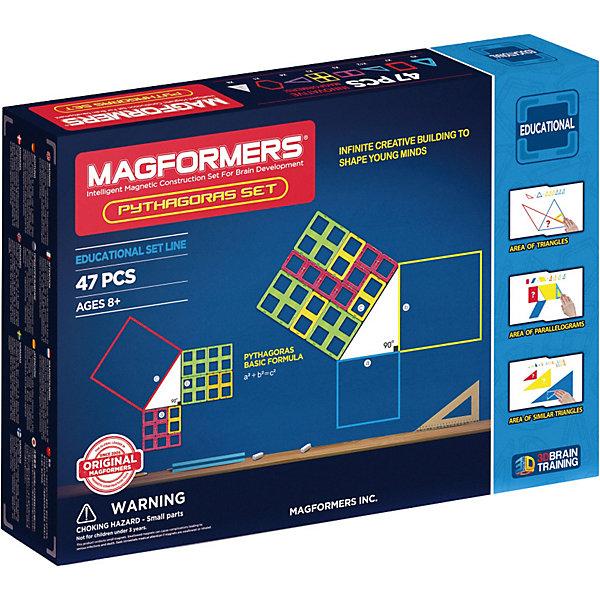 Магнитный конструктор Пифагор, MAGFORMERSМагнитные конструкторы<br>Не спроста набор назван в честь древнегреческого философа и математика Пифагора Самосского!<br>В наборе представлены все ключевые фигуры, позволяющие познакомиться с увлекательным миром геометрии: квадраты, треугольники, прямоугольники, шестиугольники и даже пирамиды. Помимо магнитных деталей в набор входят занимательные задания-головоломки по геометрии на 11 плотных листах формата А1, А2, А4. Решив задачу на бумаге, ее можно воплотить и изучить в трехмерной форме. Красочно иллюстрированная инструкция подскажет, как из простых фигур собираются сложные объемные модели.<br>Набор Magformers Пифагор — отличный способ увлечь детей математическими дисциплинами. С таким ярким и интересным конструктором знакомство с наукой пройдет легко и весело!<br><br>Дополнительная информация:<br><br>- Количество деталей: 47 шт. <br>- 9 треугольников; <br>- 7 квадратов; <br>- 12 прямоугольный треугольник;<br>- 3 новый суперквадрат; <br>- 3 прямоугольников; <br>- 1 шестиугольник;<br>- 8 треугольная светорассеивающая пирамида; <br>- 4 равнобедренных треугольников. <br>- Возраст: от 3 лет <br>- Материал: высококачественный пластик <br>- Размер упаковки: 44х32х6 см <br>- Вес в упаковке: 1.95 кг <br><br>Купить магнитный конструктор Пифагор MAGFORMERS можно в нашем магазине.<br><br>Ширина мм: 320<br>Глубина мм: 440<br>Высота мм: 60<br>Вес г: 2000<br>Возраст от месяцев: 36<br>Возраст до месяцев: 192<br>Пол: Унисекс<br>Возраст: Детский<br>SKU: 4730848