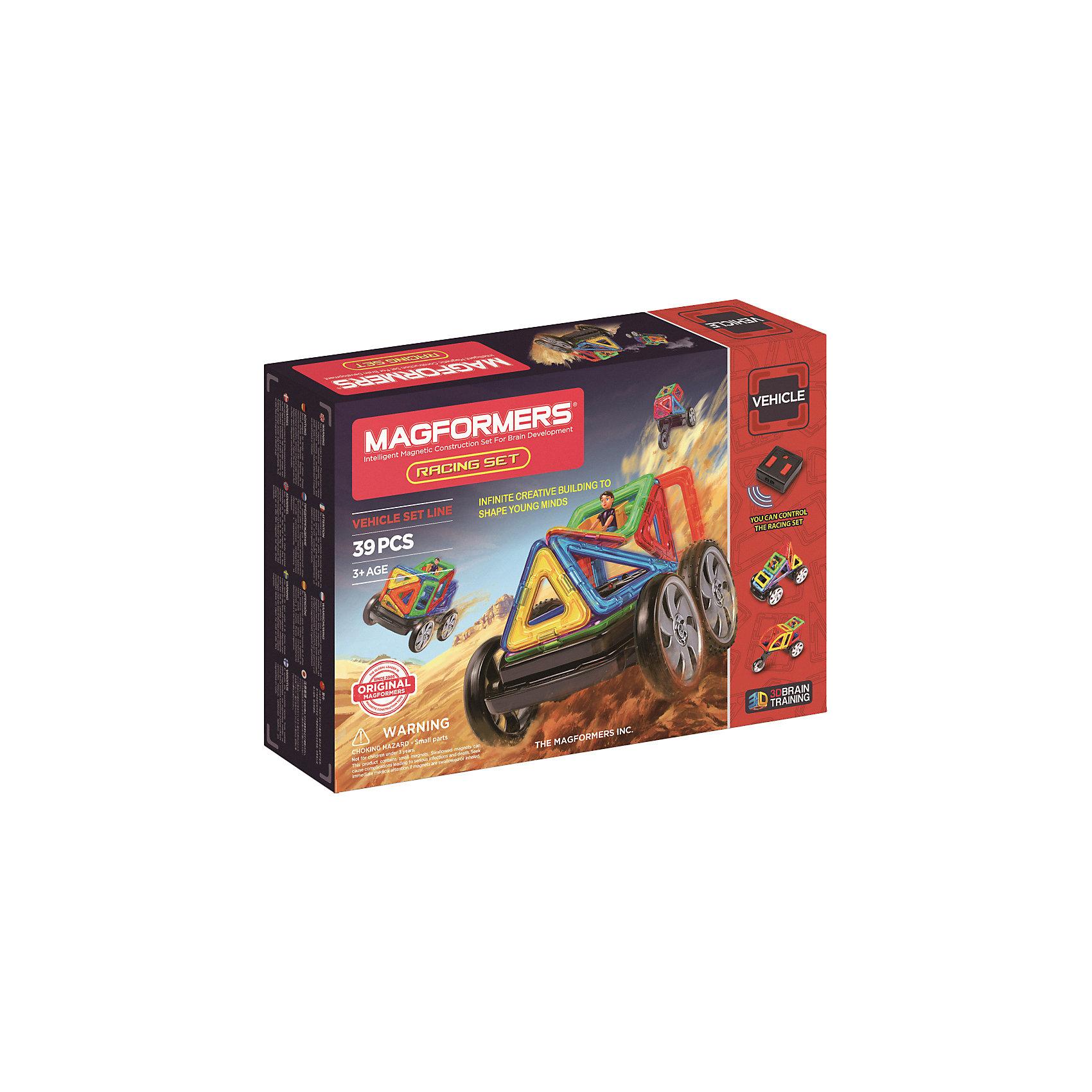Магнитный конструктор Racing set, MAGFORMERSДанный магнитный конструктор станет приятным сюрпризом для любого ребенка, так как содержит в комплекте пульт дистанционного управления!<br>Так же в наборе представлено множество оригинальных элементов, среди которых можно найти суперарку, суперсектор и суперпрямоугольник. Наличие дистанционного управления оживит собранные конструкции и не позволит ребёнку заскучать. <br>Кроме этого, конструктор содержит несколько видов колёс, в том числе и уникальное мотоциклетное колесо. Эту редкую деталь можно было найти только в наборе Mega Brain Set. <br><br>Такой конструктор станет прекрасным подарком для начала знакомства с серией Магформерс, а также может отлично дополнить коллекцию уже имеющихся наборов!<br><br>Дополнительная информация:<br><br>- Количество деталей: 39 шт. <br>- Треугольник: 5 шт. <br>- Равнобедренный треугольник: 5 шт. <br>- Квадрат: 6 шт. <br>- Прямоугольник: 1 шт. <br>- Суперпрямоугольник: 1 шт. <br>- Минипрямоугольник: 4 шт. <br>- Ромб: 2 шт. <br>- Трапеция: 1 шт. <br>- Сектор: 2 шт. <br>- Суперсектор: 2 шт. <br>- Арка: 1 шт. <br>- Суперарка: 1 шт. <br>- Мальчик: 1 шт. <br>- Пара колес: 1 шт. <br>- Поворотная ось: 1 шт. <br>- Управляемая ось с колесами: 1 шт. <br>- Мотоциклетное колесо: 1 шт. <br>- Пульт дистанционного управления: 1 шт. <br>- Блок-вставка: 2 шт. <br>- Возраст: от 3 лет <br>- Материал: прочный пластик <br>- Размер упаковки: 40х28х8 см <br>- Вес в упаковке: 1 кг. <br><br>Купить магнитный конструктор Racing set MAGFORMERS можно в нашем магазине.<br><br>Ширина мм: 320<br>Глубина мм: 445<br>Высота мм: 80<br>Вес г: 1700<br>Возраст от месяцев: 36<br>Возраст до месяцев: 192<br>Пол: Унисекс<br>Возраст: Детский<br>SKU: 4730849