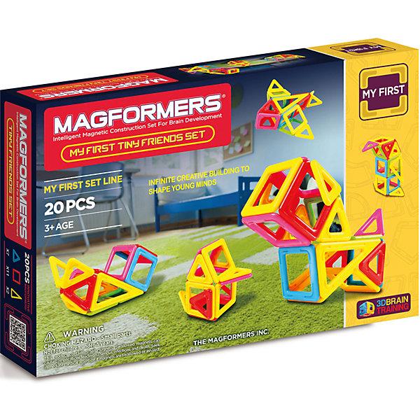 Магнитный конструктор Tiny Friends, MAGFORMERSМагнитные конструкторы<br>Магнитный конструктор My First Tiny Friends Set от бренда Магформерс может стать первым набором ребёнка от 3-х лет, который научит малыша собирать 12 фигурок Маленьких Друзей из окружающего мира. <br>Каждая деталь дополнена сильными и надежными магнитами, которые позволяют легко собирать объёмные модели, используя книгу идей или собственную фантазию. <br><br>Дополнительная информация:<br><br>- Количество деталей: 20 шт. <br>- Треугольники: 7 шт. <br>- Равнобедренные треугольники: 2 шт. <br>- Квадраты: 11 шт. <br>- Возраст: от 3 лет <br>- Материал: прочный пластик <br>- Размер упаковки: 34х12х4 см <br>- Вес в упаковке: 0.5 кг. <br><br>Купить магнитный конструктор Tiny Friends MAGFORMERS можно в нашем магазине.<br>Ширина мм: 185; Глубина мм: 270; Высота мм: 45; Вес г: 467; Возраст от месяцев: 36; Возраст до месяцев: 192; Пол: Унисекс; Возраст: Детский; SKU: 4730851;