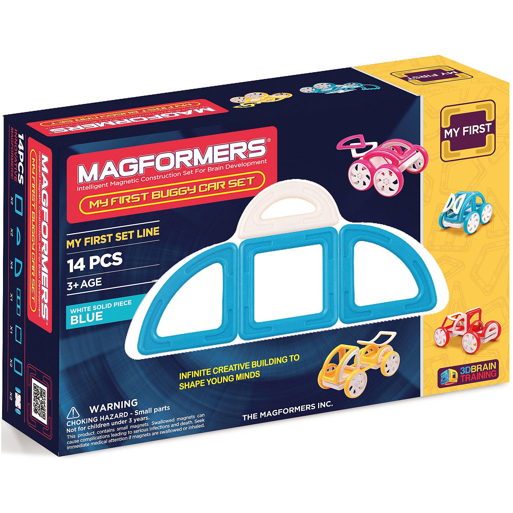Магнитный конструктор My First Buggy, желтый, MAGFORMERSМагнитные конструкторы<br>Набор My First Buggy Car Set из серии Мой Первый Магформерс отлично подойдет для начала знакомства с развивающим конструктором!<br> Он включает в себя великолепно иллюстрированные карточки, которые познакомят Вас с принципами конструирования из Магформерс и покажут, как собрать разнообразные машинки Багги - для передвижения по песчаным прибрежным дюнам, для гонок по бездорожью или по пересеченной местности. Детали выполнены в ярких тонах: желтый, голубой, красный и розовый с одной стороны и белый цвет с другой стороны. Необычные приключения ждут Вашего ребенка с новым набором Magformers My First Buggy Car Set<br><br>Дополнительная информация:<br><br>- Количество деталей: 14 шт. <br>- Квадраты: 2 шт. <br>- Суперпрямоугольники: 1 шт. <br>- Секторы: 4 шт. <br>- Арки: 2 шт. <br>- Половина арки: 1 шт. <br>- Полукруг: 2 шт. <br>- Пара колес: 2 шт. <br>- Возраст: от 3 лет <br>- Цвет: желтый.<br>- Материал: прочный пластик <br>- Размер упаковки: 34х12х2 см <br>- Вес в упаковке: 0.4 кг. <br><br>Купить магнитный конструктор My First Buggy MAGFORMERS желтого цвета, можно в нашем магазине.<br><br>Ширина мм: 180<br>Глубина мм: 270<br>Высота мм: 80<br>Вес г: 650<br>Возраст от месяцев: 36<br>Возраст до месяцев: 192<br>Пол: Унисекс<br>Возраст: Детский<br>SKU: 4730852
