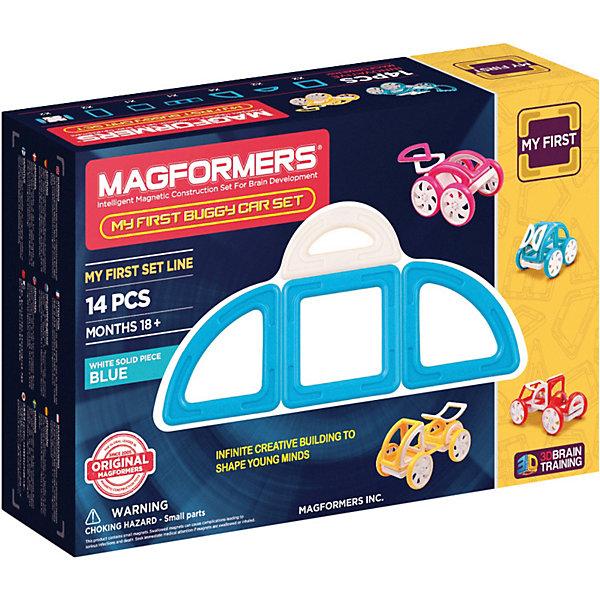 Магнитный конструктор My First Buggy, синий, MAGFORMERSМагнитные конструкторы<br>Набор My First Buggy Car Set из серии Мой Первый Магформерс отлично подойдет для начала знакомства с развивающим конструктором!<br> Он включает в себя великолепно иллюстрированные карточки, которые познакомят Вас с принципами конструирования из Магформерс и покажут, как собрать разнообразные машинки Багги - для передвижения по песчаным прибрежным дюнам, для гонок по бездорожью или по пересеченной местности. Детали выполнены в ярких тонах: желтый, голубой, красный и розовый с одной стороны и белый цвет с другой стороны. Необычные приключения ждут Вашего ребенка с новым набором Magformers My First Buggy Car Set<br><br>Дополнительная информация:<br><br>- Количество деталей: 14 шт. <br>- Квадраты: 2 шт. <br>- Суперпрямоугольники: 1 шт. <br>- Секторы: 4 шт. <br>- Арки: 2 шт. <br>- Половина арки: 1 шт. <br>- Полукруг: 2 шт. <br>- Пара колес: 2 шт. <br>- Возраст: от 3 лет <br>- Цвет: синий.<br>- Материал: прочный пластик <br>- Размер упаковки: 34х12х2 см <br>- Вес в упаковке: 0.4 кг. <br><br>Купить магнитный конструктор My First Buggy MAGFORMERS синего цвета, можно в нашем магазине.<br><br>Ширина мм: 180<br>Глубина мм: 270<br>Высота мм: 80<br>Вес г: 650<br>Возраст от месяцев: 36<br>Возраст до месяцев: 192<br>Пол: Унисекс<br>Возраст: Детский<br>SKU: 4730853