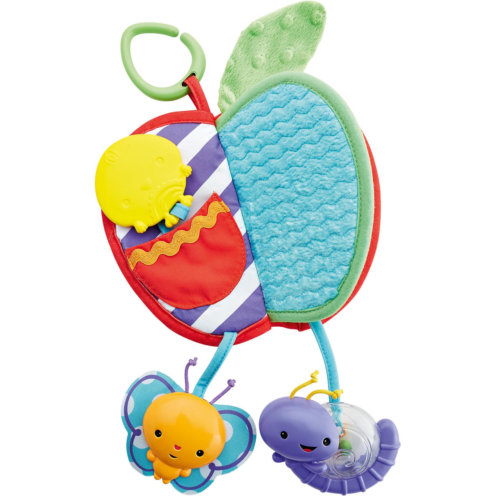 Развивающая игрушка-книжка Яблочко с прорезывателемПрорезыватели<br>Характеристики:<br><br>• Вид игрушки: погремушка-прорезыватель<br>• Пол: универсальный<br>• Материал: пластик, текстиль<br>• Цвет: красный, зеленый, белый, желтый, оранжевый<br>• Наличие кольца для подвешивания игрушки<br>• Наличие шуршащих, гремящих элементов разнообразной фактуры<br>• Размер (Д*Ш*В): 19,5*2,5*19,5<br>• Вес: 100 г<br><br>Яблочко - прорезыватель, Fisher Price – это многофункциональная игрушка, которая будет интересна ребенку достаточно длительное время за счет того, что в ней предусмотрены практически все приспособления, направленные на зрительное, слуховое и пространственное восприятие. Игрушка выполнена в форме книжки, на одной из страничек имеются разнообразные фактурные элементы, на другой – зеркальце, а на третьей – кармашек. Все детали и элементы погремушки выполнены из экологически безопасных и прочных материалов, у игрушки нет мелких деталей и острых углов. Снизу имеются пластиковые игрушки-подвески в виде бабочки и гусенички. У яблочка имеется кольцо-подвеска, за которое игрушку можно прикрепить на коляску, кроватку или стульчик для кормления. <br><br>Яблочко - прорезыватель, Fisher Price можно купить в нашем интернет-магазине.<br><br>Ширина мм: 238<br>Глубина мм: 168<br>Высота мм: 52<br>Вес г: 163<br>Возраст от месяцев: 3<br>Возраст до месяцев: 12<br>Пол: Унисекс<br>Возраст: Детский<br>SKU: 4732075