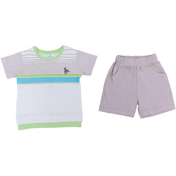 Комплект для мальчика МамуляндияКомплекты<br>Комплект одежды (футболки, шорты) из дизайнерской коллекции для мальчиков Поло, выполнен из трикотажноготна высшего качества (интерлок пенье).  Декорирован  гипоаллергенным принтом на водной основе. Удобное расположение кнопок для переодевания малыша. Стирать при температуре 40, носить с удовольствием. 100% хлопок<br><br>Ширина мм: 157<br>Глубина мм: 13<br>Высота мм: 119<br>Вес г: 200<br>Цвет: белый<br>Возраст от месяцев: 3<br>Возраст до месяцев: 6<br>Пол: Мужской<br>Возраст: Детский<br>Размер: 68,92,86,80,74<br>SKU: 4735631