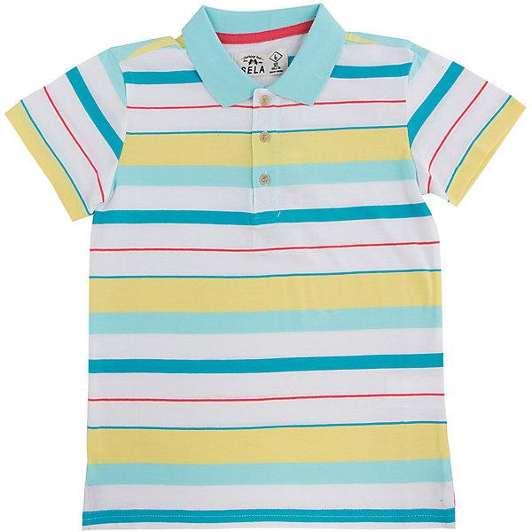 Футболка-поло для мальчика SELAФутболки, поло и топы<br>Яркая рубашка-поло для мальчика от популярного бренда SELA. Изделие выполнено из натурального гипоаллергенного трикотажа, очень мягкого, дышащего и приятного к телу, и обладает следующими особенностями:<br>- стильная полоска;<br>- аккуратный воротничок;<br>- 3 пуговицы на груди;<br>- разрезы по бокам;<br>- комфортный крой, гарантирующий свободу движений.<br>Великолепный выбор для активного и модного лета!<br><br>Дополнительная информация:<br>- состав: 100% хлопок<br>- цвет: белый + желтый + голубой<br><br>Рубашку-поло для мальчика SELA (СЕЛА) можно купить в нашем магазине<br><br>Ширина мм: 174<br>Глубина мм: 10<br>Высота мм: 169<br>Вес г: 157<br>Цвет: зеленый<br>Возраст от месяцев: 132<br>Возраст до месяцев: 144<br>Пол: Мужской<br>Возраст: Детский<br>Размер: 152,116,146,140,134,128,122<br>SKU: 4737234