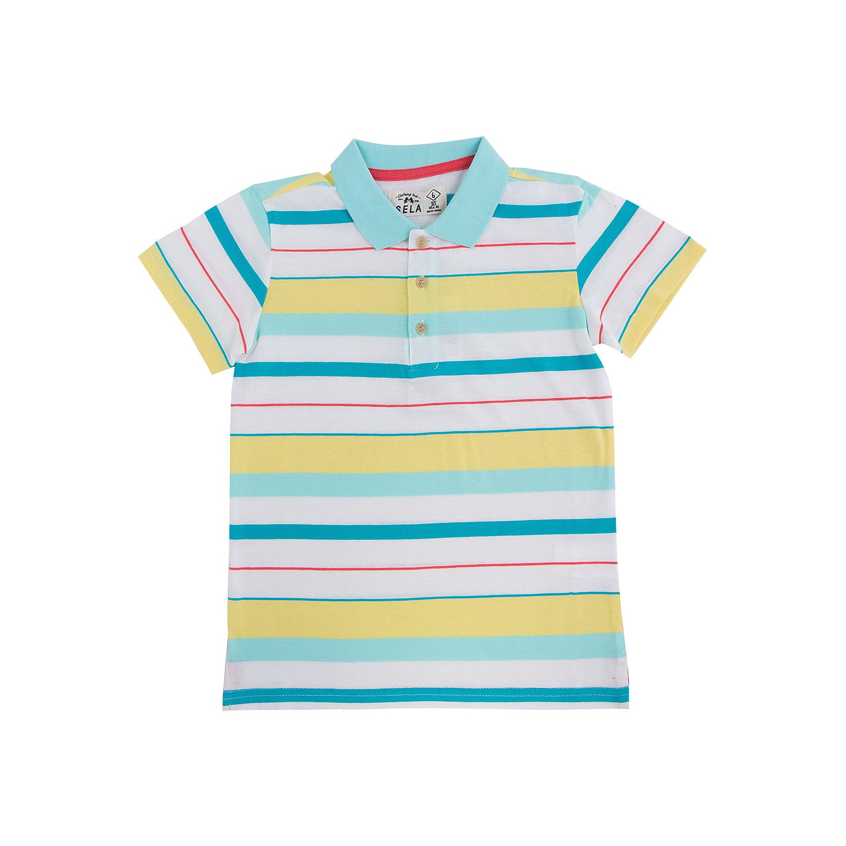Рубашка-поло для мальчика SELAЯркая рубашка-поло для мальчика от популярного бренда SELA. Изделие выполнено из натурального гипоаллергенного трикотажа, очень мягкого, дышащего и приятного к телу, и обладает следующими особенностями:<br>- стильная полоска;<br>- аккуратный воротничок;<br>- 3 пуговицы на груди;<br>- разрезы по бокам;<br>- комфортный крой, гарантирующий свободу движений.<br>Великолепный выбор для активного и модного лета!<br><br>Дополнительная информация:<br>- состав: 100% хлопок<br>- цвет: белый + желтый + голубой<br><br>Рубашку-поло для мальчика SELA (СЕЛА) можно купить в нашем магазине<br><br>Ширина мм: 174<br>Глубина мм: 10<br>Высота мм: 169<br>Вес г: 157<br>Цвет: зеленый<br>Возраст от месяцев: 120<br>Возраст до месяцев: 132<br>Пол: Мужской<br>Возраст: Детский<br>Размер: 146,116,122,128,134,140,152<br>SKU: 4737234