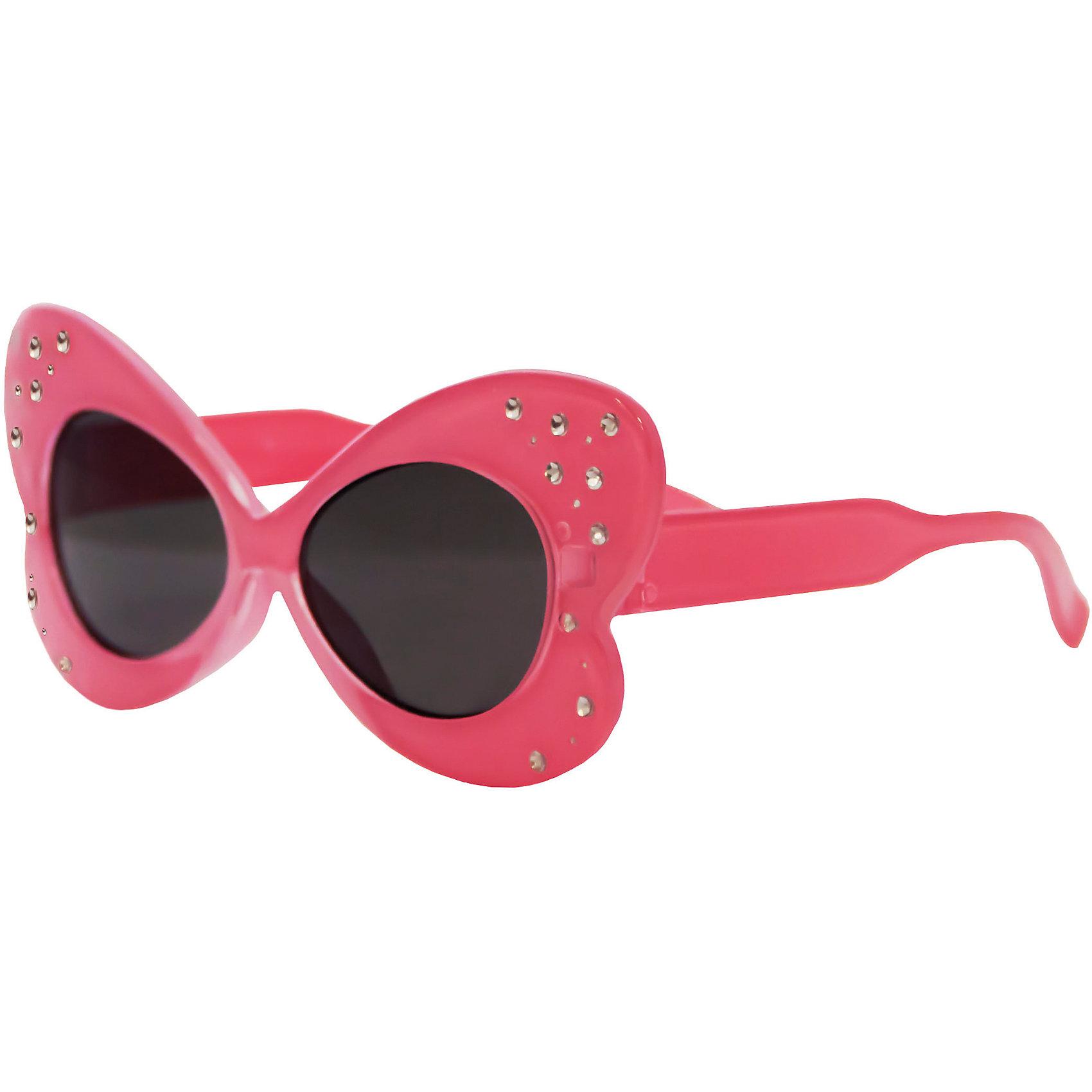 Солнцезащитные очки CaramellaСтильные солнцезащитные очки «Caramella» в форме бабочки со стразами – это ультрамодный и полезный аксессуар для маленькой модницы. Их пластиковые линзы надежно защищают глаза от коварных ультрафиолетовых лучей, особенно опасных для детских нежных хрусталиков. Удобные дужки комфортно прилегают к голове и почти не ощущаются. Насыщенный розовый цвет оправы и дужек придают очкам особую выразительность. Аксессуар изготовлен из пластика, расстояние между дужками на внутренней части очков – 110 мм. Товар произведен в Тайване. Имеется сертификат качества и протокол испытания линз.<br><br>Ширина мм: 170<br>Глубина мм: 157<br>Высота мм: 67<br>Вес г: 117<br>Возраст от месяцев: 36<br>Возраст до месяцев: 2147483647<br>Пол: Женский<br>Возраст: Детский<br>SKU: 4738338