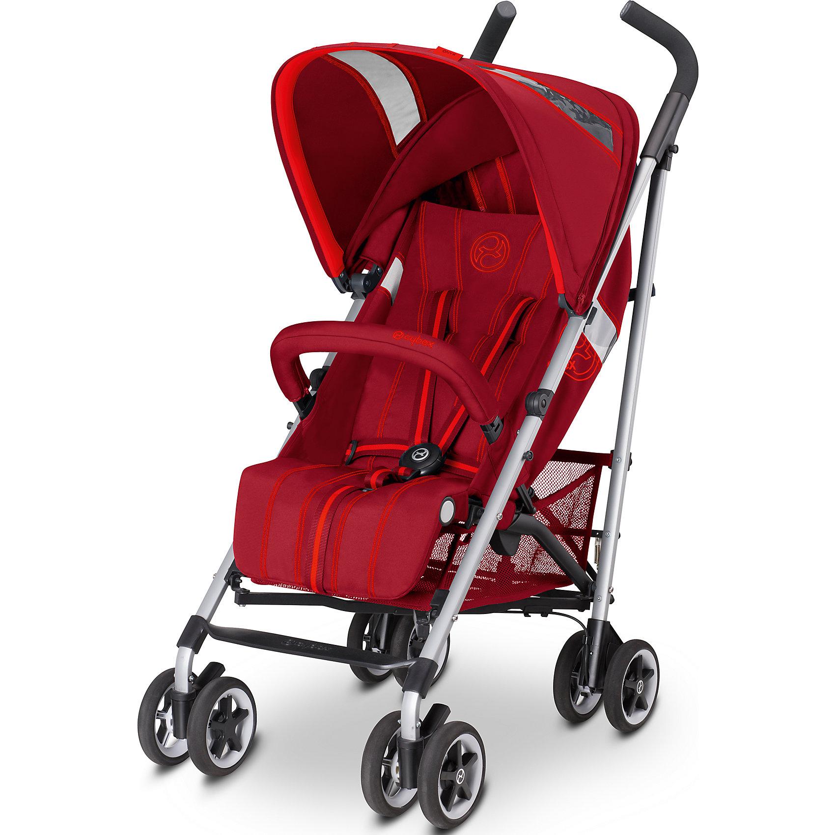 Коляска-трость Onyx Mars, Cybex, красный 2016Cybex Onyx - это легкая и маневренная коляска-трость, которая просто идеально подходит для прогулок по городу, удобна в магазине или в общественном транспорте, а также во время путешествий и поездок на автомобиле. Коляска легко складывается и раскладывается. Подходит для детей с 6 месяцев и примерно до 3 лет. <br><br>Особенности:<br>- 4 положения спинки. Спинка откидывается почти горизонтально, что очень удобно для малыша во время сна на прогулке (170?)<br>- 5-ти точечные ремни безопасности с запатентованной системой натяжения ремней одним нажатием обеспечат вашему малышу надежную защиту;<br>- Обивка выполнена из дышащих материалов, летом коляска хорошо вентилируется, что сделает прогулку малыша еще комфортнее;<br>- Есть съемный бампер (перекладина безопасности перед ребенком);<br>- Внушительный капюшон будет отличной защитой малышу от солнца;<br>- Прочный силиконовый дождевик, который идет в комплекте, надежно укроет вашего ребенка от дождя;<br>- Смотровое окошко на капюшоне дает возможность наблюдать за малышом;<br>- В капюшоне Сайбекс Оникс есть дополнительный карман для необходимых мелочей, которые должны быть под рукой;<br>- Регулируемая подножка значительно удлиняет спальное место;<br>- Удобные, эргономичной формы ручки с нескользящими накладками (ручки не регулируются);<br>- Прочная рама из 100% алюминия очень легкая, благодаря чему коляской легкой управлять и она удобна для транспортировки;<br>- 4 пары сдвоенных колес, которые изготовлены из плотной и прочной резины, а литые диски на колесах сделаны из бесшумного и морозоустойчивого пластика;<br>- Передние поворотные колеса (вращаются на 360 градусов), которые легко фиксируются, обеспечивают отличную управляемость и маневренность коляски;<br>- На задних колесах Cybex Onyx центральный тормоз, который надежно удержит коляску на месте. Также на задних колесах мягкая подвеска, которая будет сглаживать неровности на дороге;<br>для удобства переноса сложенной коляски им
