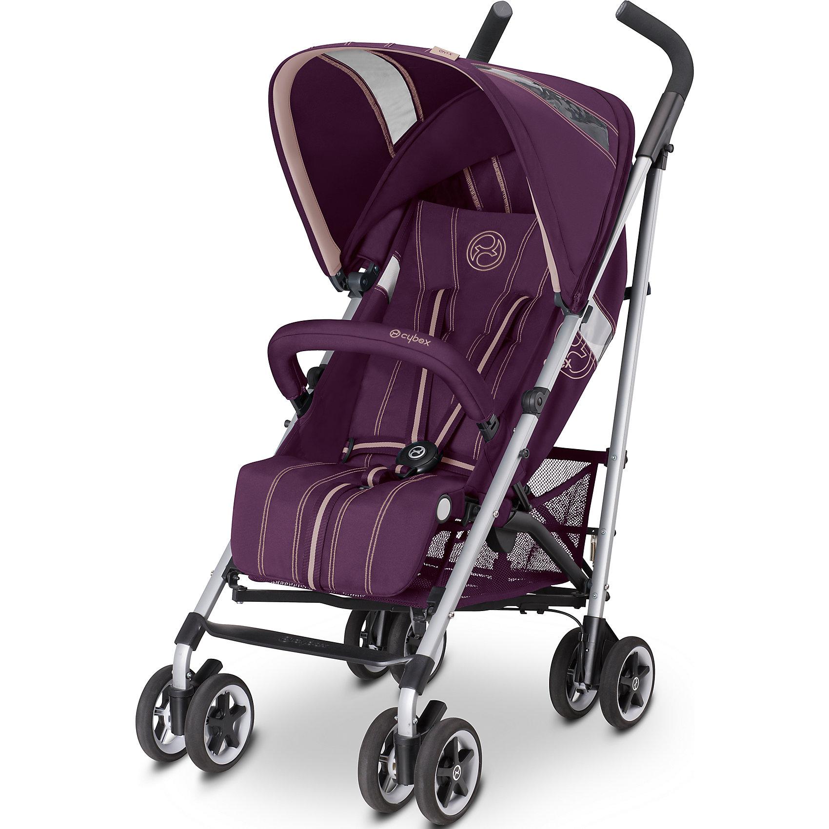 Коляска-трость Onyx Princess, Cybex, розовый 2016Коляски-трости<br>Cybex Onyx - это легкая и маневренная коляска-трость, которая просто идеально подходит для прогулок по городу, удобна в магазине или в общественном транспорте, а также во время путешествий и поездок на автомобиле. Коляска легко складывается и раскладывается. Подходит для детей с 6 месяцев и примерно до 3 лет. <br><br>Особенности:<br>- 4 положения спинки. Спинка откидывается почти горизонтально, что очень удобно для малыша во время сна на прогулке (170?)<br>- 5-ти точечные ремни безопасности с запатентованной системой натяжения ремней одним нажатием обеспечат вашему малышу надежную защиту;<br>- Обивка выполнена из дышащих материалов, летом коляска хорошо вентилируется, что сделает прогулку малыша еще комфортнее;<br>- Есть съемный бампер (перекладина безопасности перед ребенком);<br>- Внушительный капюшон будет отличной защитой малышу от солнца;<br>- Прочный силиконовый дождевик, который идет в комплекте, надежно укроет вашего ребенка от дождя;<br>- Смотровое окошко на капюшоне дает возможность наблюдать за малышом;<br>- В капюшоне Сайбекс Оникс есть дополнительный карман для необходимых мелочей, которые должны быть под рукой;<br>- Регулируемая подножка значительно удлиняет спальное место;<br>- Удобные, эргономичной формы ручки с нескользящими накладками (ручки не регулируются);<br>- Прочная рама из 100% алюминия очень легкая, благодаря чему коляской легкой управлять и она удобна для транспортировки;<br>- 4 пары сдвоенных колес, которые изготовлены из плотной и прочной резины, а литые диски на колесах сделаны из бесшумного и морозоустойчивого пластика;<br>- Передние поворотные колеса (вращаются на 360 градусов), которые легко фиксируются, обеспечивают отличную управляемость и маневренность коляски;<br>- На задних колесах Cybex Onyx центральный тормоз, который надежно удержит коляску на месте. Также на задних колесах мягкая подвеска, которая будет сглаживать неровности на дороге;<br>для удобства перенос