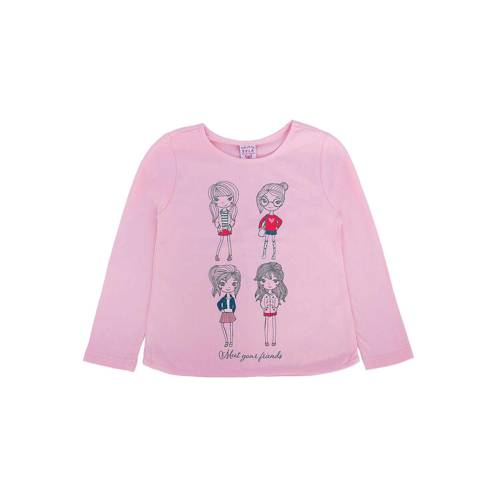 Футболка с длинным рукавом для девочки SELAОчаровательный джемпер для девочки от популярного бренда SELA. Изделие выполнено из натурального гипоаллергенного материала, очень мягкого и приятного к телу, и обладает следующими особенностями:<br>- нежно-розовый цвет, милый принт на груди;<br>- округлый вырез горловины;<br>- длинные рукава;<br>- комфортный крой.<br>Идеальный выбор на каждый день.<br><br>Дополнительная информация:<br>- состав: 95% хлопок, 5% эластан<br>- цвет: розовый<br><br>Джемпер для девочки SELA можно купить в нашем магазине<br><br>Ширина мм: 190<br>Глубина мм: 74<br>Высота мм: 229<br>Вес г: 236<br>Цвет: розовый<br>Возраст от месяцев: 24<br>Возраст до месяцев: 36<br>Пол: Женский<br>Возраст: Детский<br>Размер: 98,92,116,110,104<br>SKU: 4741043