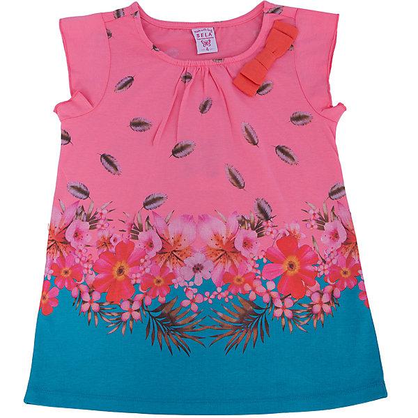 Футболка для девочки SELAФутболки, поло и топы<br>Блузка от известной марки SELА поможет разнообразить летний гардероб девочки, создать нарядный или повседневный образ. Удобный крой и качественный материал обеспечат ребенку комфорт при ношении этой вещи. <br>Горловина изделия - круглая, украшена бантом. Силуэт - стильный,  прямой, слегка расширенный. Приятная на ощупь ткань не вызывает аллергии. Изделие украшено стильным принтом.<br><br>Дополнительная информация:<br><br>материал: 100% хлопок;<br>цвет: белый;<br>удлиненная;<br>рукав-крылышко (короткий);<br>силуэт прямой, слегка расширенный;<br>уход за изделием: стирка в машине при температуре до 30°С, не отбеливать, гладить при низкой температуре.<br><br>Блузку от бренда SELА (Села) можно купить в нашем магазине.<br><br>Ширина мм: 230<br>Глубина мм: 40<br>Высота мм: 220<br>Вес г: 250<br>Цвет: розовый<br>Возраст от месяцев: 18<br>Возраст до месяцев: 24<br>Пол: Женский<br>Возраст: Детский<br>Размер: 92,116,110,104,98<br>SKU: 4741057