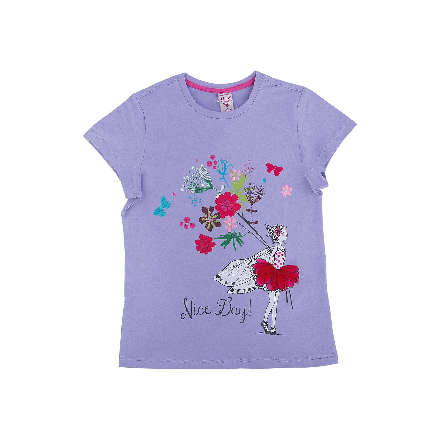 Футболка для девочки SELAФутболка от известной марки SELА поможет разнообразить летний гардероб девочки, создать нарядный или повседневный образ. Удобный крой и качественный материал обеспечат ребенку комфорт при ношении этой вещи. <br>На горловине изделия - мягкая окантовка. Силуэт - стильный, прямой. Спереди футболка оформлена оригинальным принтом.<br><br>Дополнительная информация:<br><br>материал: 95% хлопок, 5% эластан;<br>декорирована принтом;<br>прямой силуэт;<br>рукава короткие;<br>круглый горловой вырез;<br>уход за изделием: стирка в машине при температуре до 30°С, не отбеливать, гладить при низкой температуре.<br><br>Футболку от бренда SELА (Села) можно купить в нашем магазине.<br><br>Ширина мм: 230<br>Глубина мм: 40<br>Высота мм: 220<br>Вес г: 250<br>Цвет: белый<br>Возраст от месяцев: 48<br>Возраст до месяцев: 60<br>Пол: Женский<br>Возраст: Детский<br>Размер: 110,92,116,104,98<br>SKU: 4741081