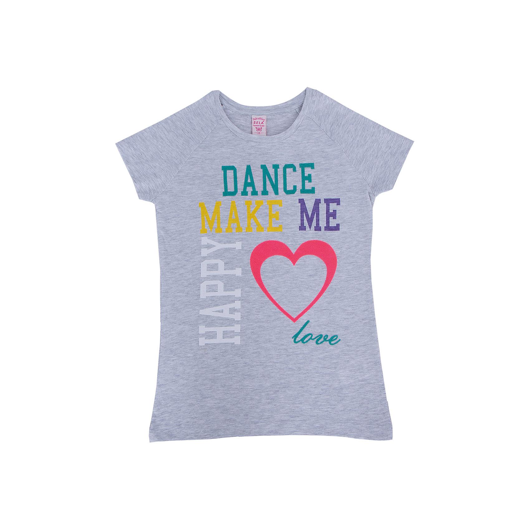 Футболка для девочки SELAФутболка от известной марки SELА поможет разнообразить летний гардероб девочки, создать нарядный или повседневный образ. Удобный крой и качественный материал обеспечат ребенку комфорт при ношении этой вещи. <br>На горловине изделия - мягкая окантовка. Силуэт - стильный, полуприлегающий. Спереди футболка оформлена оригинальным принтом.<br><br>Дополнительная информация:<br><br>материал: 100% хлопок;<br>цвет: серый;<br>декорирована принтом;<br>полуприлегающий силуэт;<br>рукава реглан;<br>круглый горловой вырез;<br>уход за изделием: стирка в машине при температуре до 30°С, не отбеливать, гладить при низкой температуре.<br><br>Футболку от бренда SELА (Села) можно купить в нашем магазине.<br><br>Ширина мм: 230<br>Глубина мм: 40<br>Высота мм: 220<br>Вес г: 250<br>Цвет: серый<br>Возраст от месяцев: 60<br>Возраст до месяцев: 72<br>Пол: Женский<br>Возраст: Детский<br>Размер: 116,152,134,128,122,146,140<br>SKU: 4741125