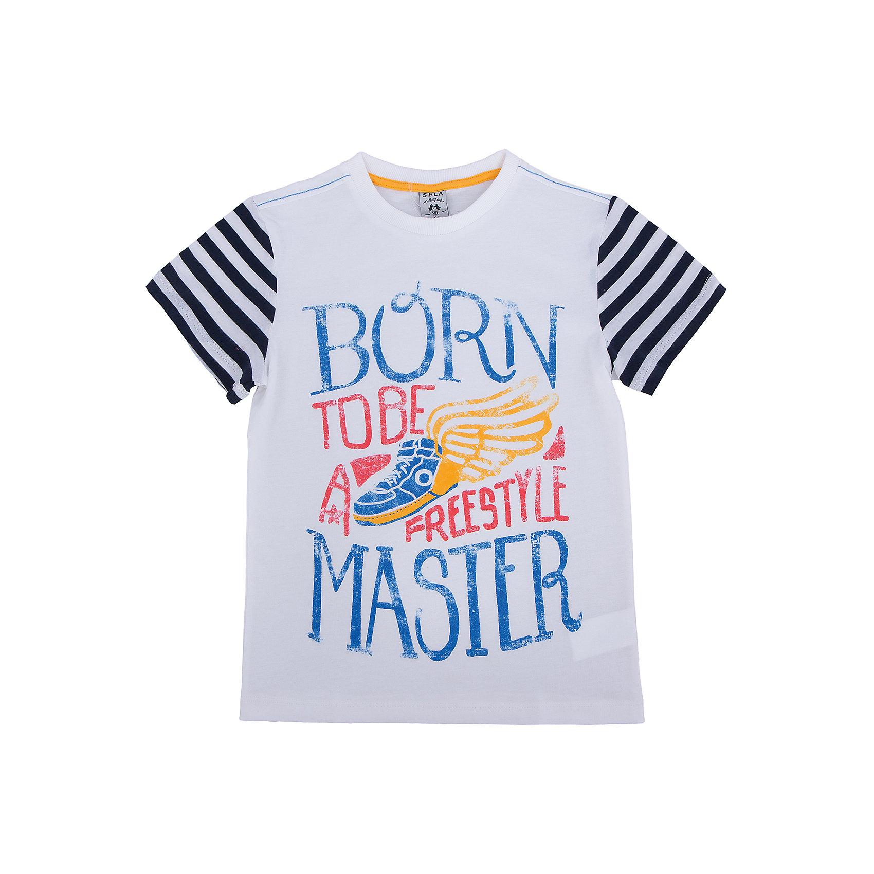 Футболка для мальчика SELAФутболки, поло и топы<br>Стильная футболка для мальчика от популярного бренда SELA. Изделие выполнено из натурального гипоаллергенного трикотажа, очень мягкого, дышащего и приятного к телу, и обладает следующими особенностями:<br>- эффектный принт, привлекательный дизайн;<br>- эластичная отделка горловины;<br>- комфортный крой;<br>- базовая модель.<br>Великолепный выбор для активного лета!<br><br>Дополнительная информация:<br>- состав: 100% хлопок<br>- цвет: белый + принт<br><br>Футболку для мальчика SELA (СЕЛА) можно купить в нашем магазине<br><br>Ширина мм: 230<br>Глубина мм: 40<br>Высота мм: 220<br>Вес г: 250<br>Цвет: белый<br>Возраст от месяцев: 24<br>Возраст до месяцев: 36<br>Пол: Мужской<br>Возраст: Детский<br>Размер: 98,104,110,116,92<br>SKU: 4741141