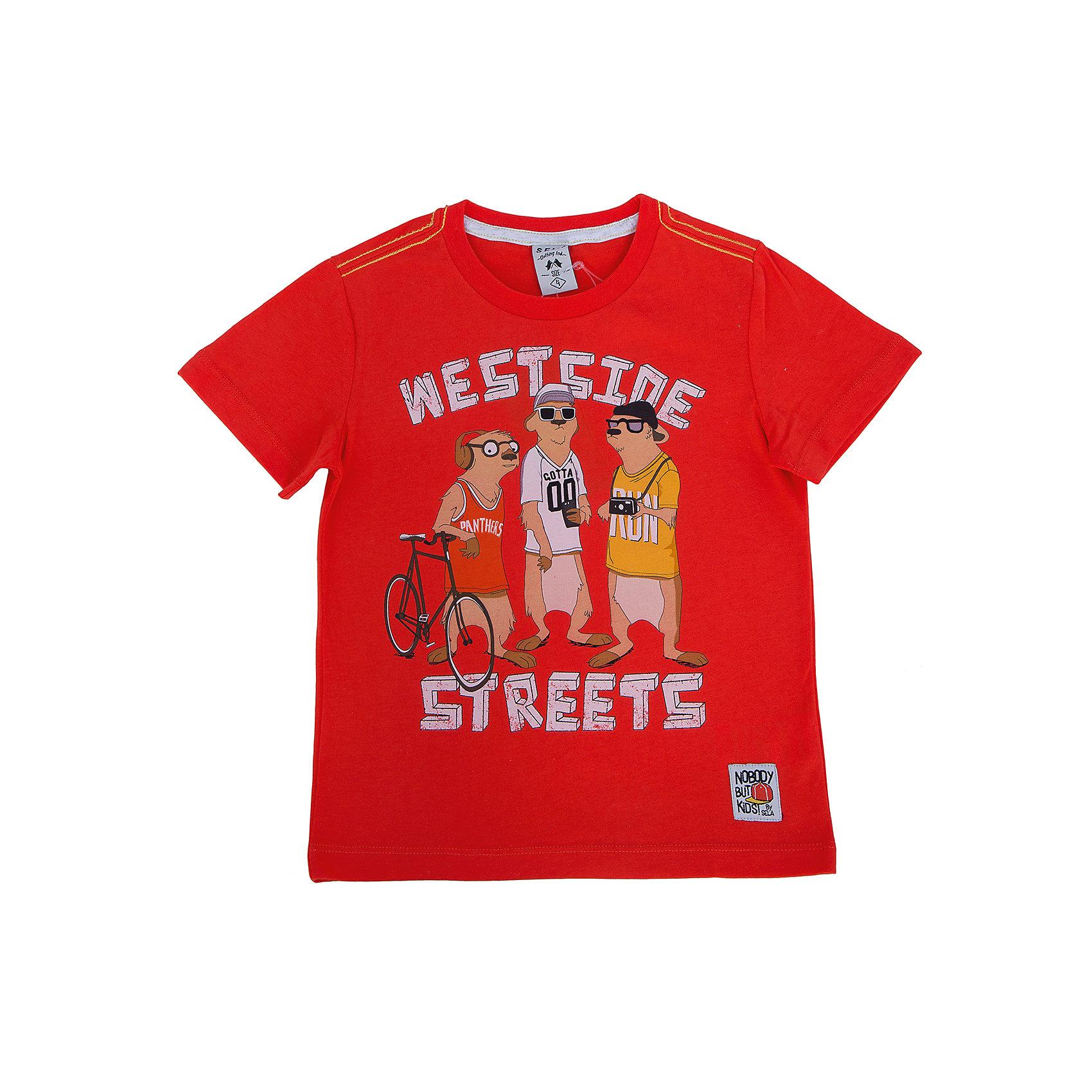 Футболка для мальчика SELAУдобная стильная футболка от известной марки SELА поможет разнообразить летний гардероб мальчика, создать легкий подходящий погоде ансамбль. Удобный крой и качественный материал обеспечат ребенку комфорт при ношении этой вещи. <br>На горловине изделия - мягкая окантовка. Материал - натуральный хлопок, дышащий и гипоаллергенный. Футболка декорирована модным принтом.<br><br>Дополнительная информация:<br><br>материал: 100% хлопок;<br>цвет: красный;<br>декорирована принтом;<br>короткие рукава;<br>круглый горловой вырез;<br>уход за изделием: стирка в машине при температуре до 30°С, не отбеливать, гладить при низкой температуре.<br><br>Футболку от бренда SELА (Села) можно купить в нашем магазине.<br><br>Ширина мм: 230<br>Глубина мм: 40<br>Высота мм: 220<br>Вес г: 250<br>Цвет: красный<br>Возраст от месяцев: 48<br>Возраст до месяцев: 60<br>Пол: Мужской<br>Возраст: Детский<br>Размер: 110,116,104,98,92<br>SKU: 4741159