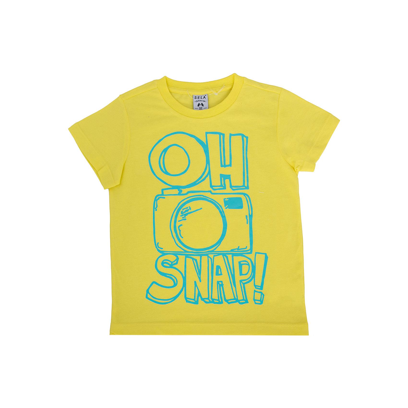 Футболка для мальчика SELAФутболки, поло и топы<br>Яркая футболка для мальчика от популярного бренда SELA. Изделие выполнено из натурального гипоаллергенного трикотажа, очень мягкого, дышащего и приятного к телу, и обладает следующими особенностями:<br>- насыщенный желтый цвет, эффектный принт на груди;<br>- эластичная отделка горловины;<br>- комфортный крой, гарантирующий свободу движений;<br>- базовая модель.<br>Великолепный выбор для активного лета!<br><br>Дополнительная информация:<br>- состав: 100% хлопок<br>- цвет: желтый + принт<br><br>Футболку для мальчика SELA (СЕЛА) можно купить в нашем магазине<br><br>Ширина мм: 230<br>Глубина мм: 40<br>Высота мм: 220<br>Вес г: 250<br>Цвет: желтый<br>Возраст от месяцев: 60<br>Возраст до месяцев: 72<br>Пол: Мужской<br>Возраст: Детский<br>Размер: 116,92,98,104,110<br>SKU: 4741207