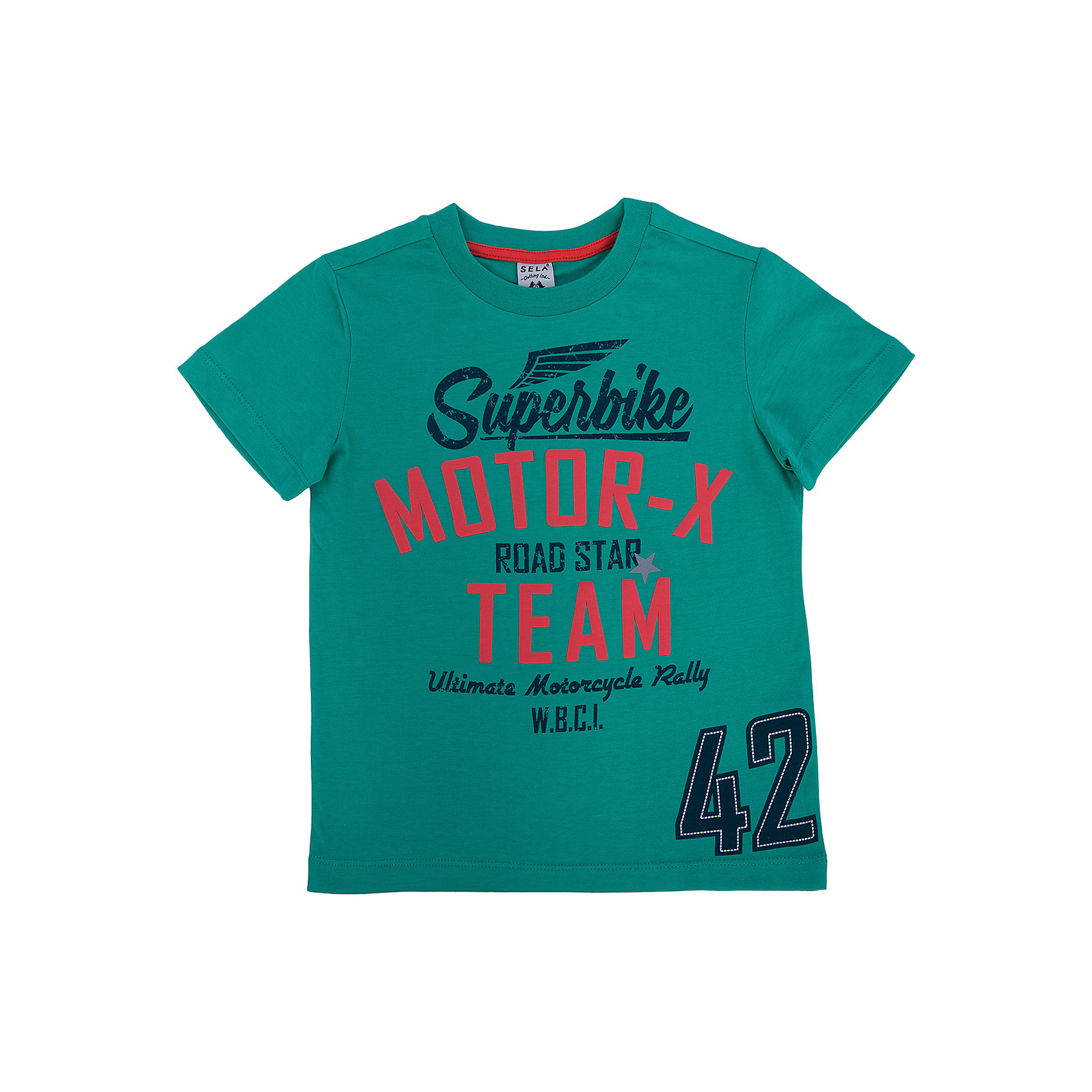 Футболка для мальчика SELAЗамечательная футболка для мальчика от популярного бренда SELA. Изделие выполнено из натурального гипоаллергенного материала, дышащего, мягкого и очень приятного к телу, и обладает следующими особенностями:<br>- насыщенный цвет, яркие принтованные надписи на груди;<br>- круглая горловина; <br>- комфортный крой.<br>Прекрасный выбор для ярких дней!<br><br>Дополнительная информация:<br>- состав: 100% хлопок<br>- цвет: зеленый<br><br>Футболку для мальчика SELA можно купить в нашем магазине<br><br>Ширина мм: 230<br>Глубина мм: 40<br>Высота мм: 220<br>Вес г: 250<br>Цвет: зеленый<br>Возраст от месяцев: 18<br>Возраст до месяцев: 24<br>Пол: Мужской<br>Возраст: Детский<br>Размер: 92,116,110,104,98<br>SKU: 4741213