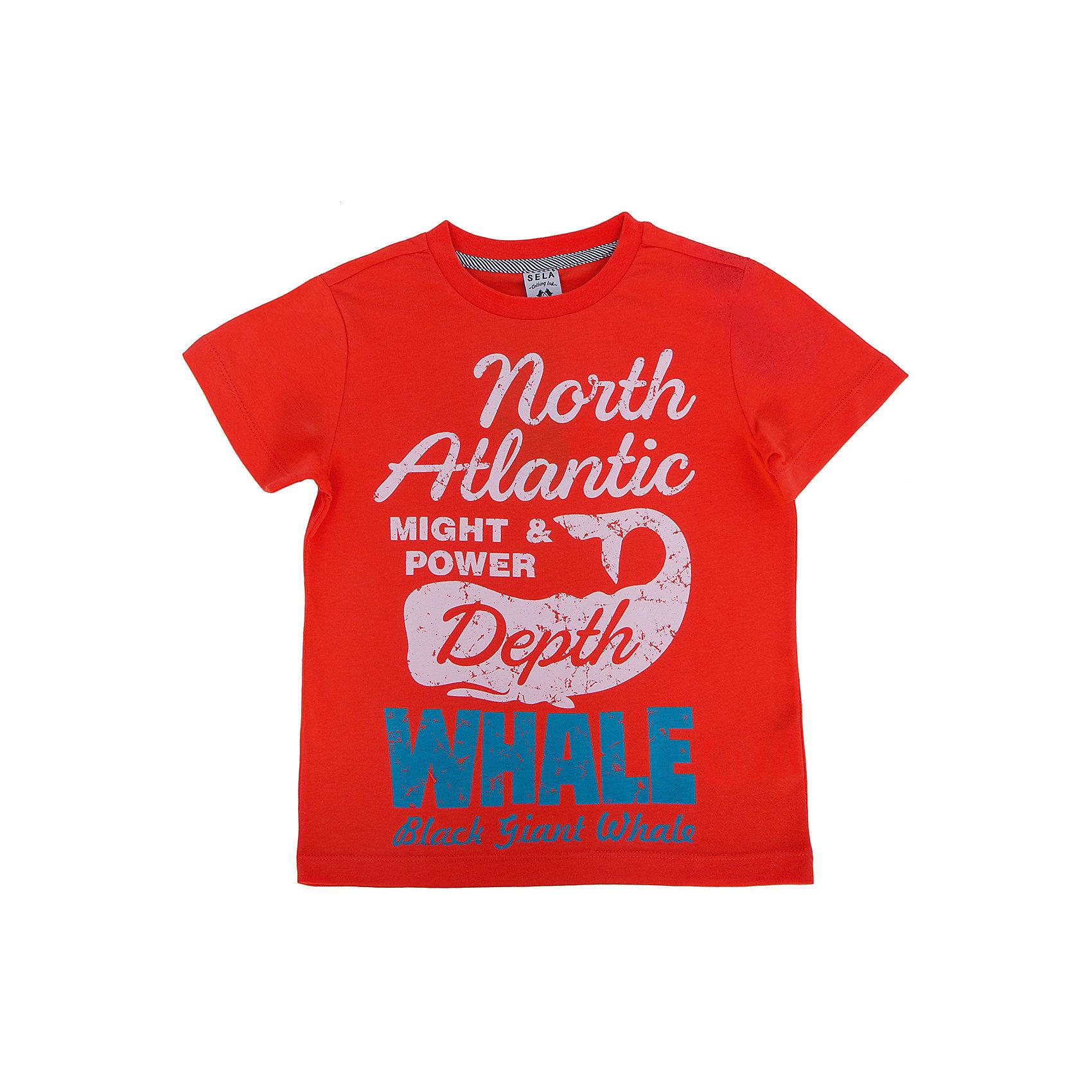 Футболка для мальчика SELAЯркая футболка для мальчика от популярного бренда SELA. Изделие выполнено из натурального гипоаллергенного трикотажа, очень мягкого, дышащего и приятного к телу, и обладает следующими особенностями:<br>- насыщенный цвет, принтованные надписи на груди;<br>- эластичная отделка горловины;<br>- комфортный крой, гарантирующий свободу движений;<br>- базовая модель.<br>Великолепный выбор для активного лета!<br><br>Дополнительная информация:<br>- состав: 100% хлопок<br><br>Футболку для мальчика SELA (СЕЛА) можно купить в нашем магазине<br><br>Ширина мм: 230<br>Глубина мм: 40<br>Высота мм: 220<br>Вес г: 250<br>Цвет: красный<br>Возраст от месяцев: 48<br>Возраст до месяцев: 60<br>Пол: Мужской<br>Возраст: Детский<br>Размер: 110,92,116,104,98<br>SKU: 4741219