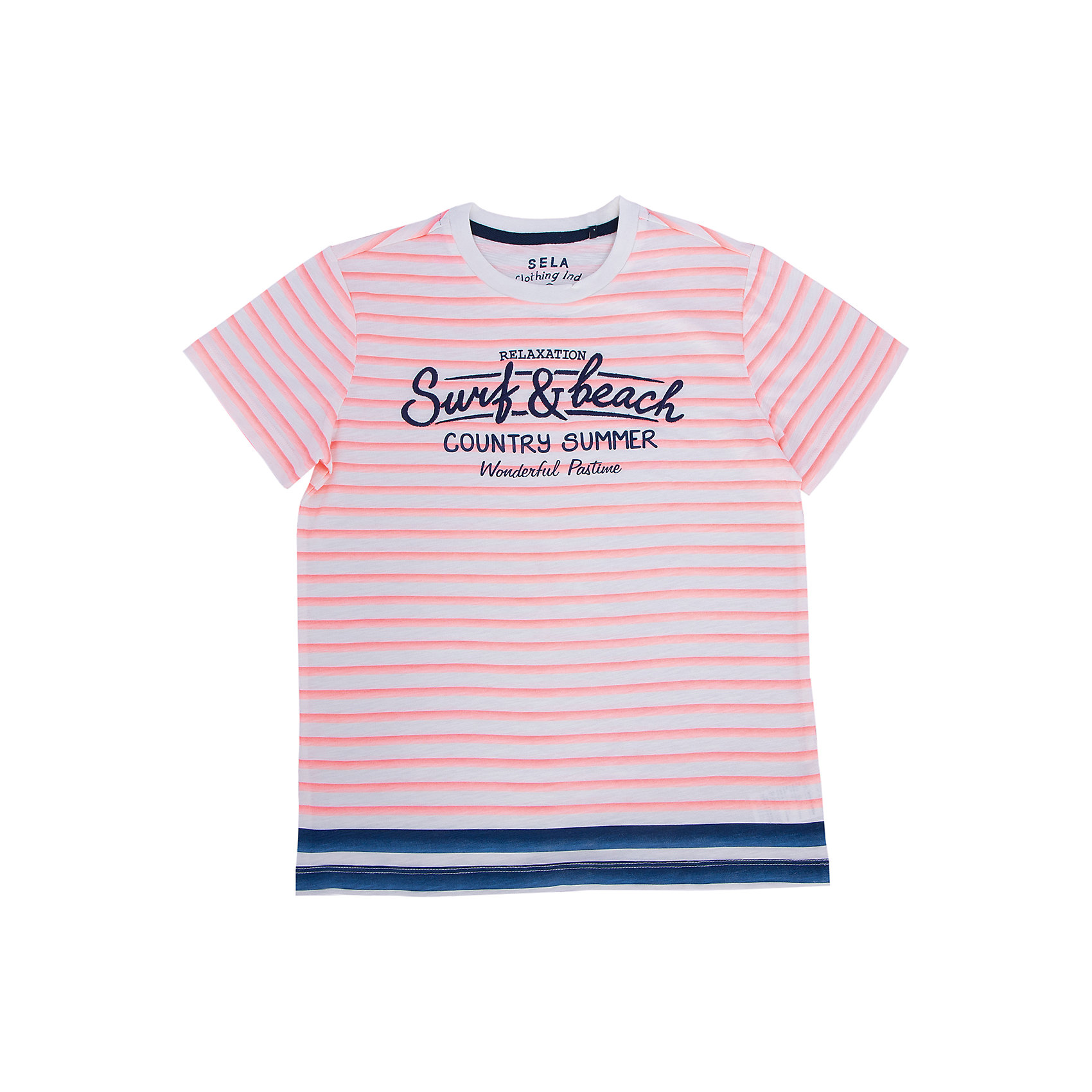 Футболка для мальчика SELAСтильная футболка от известной марки SELА поможет разнообразить летний гардероб мальчика, создать легкий подходящий погоде ансамбль. Удобный крой и качественный материал обеспечат ребенку комфорт при ношении этой вещи. <br>На горловине изделия - мягкая окантовка. Материал - натуральный хлопок, дышащий и гипоаллергенный. <br><br>Дополнительная информация:<br><br>материал: 100% хлопок;<br>цвет: разноцветный;<br>короткие рукава;<br>круглый горловой вырез;<br>уход за изделием: стирка в машине при температуре до 30°С, не отбеливать, гладить при низкой температуре.<br><br>Футболку от бренда SELА (Села) можно купить в нашем магазине.<br><br>Ширина мм: 230<br>Глубина мм: 40<br>Высота мм: 220<br>Вес г: 250<br>Цвет: красный<br>Возраст от месяцев: 132<br>Возраст до месяцев: 144<br>Пол: Мужской<br>Возраст: Детский<br>Размер: 152,116,146,140,134,128,122<br>SKU: 4741255