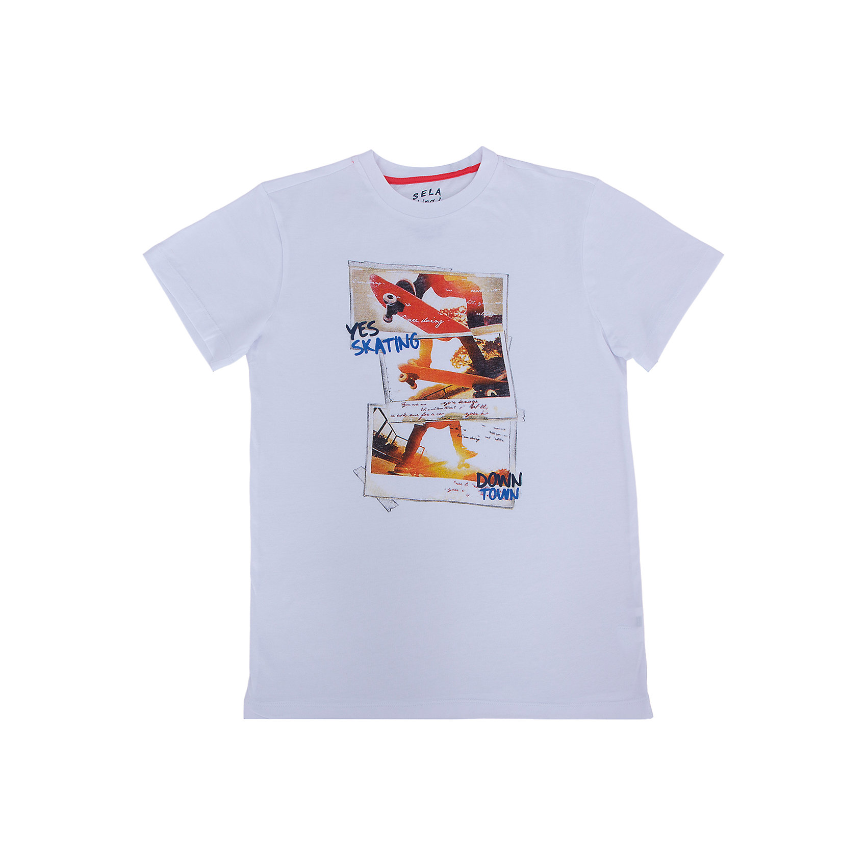 Футболка для мальчика SELAФутболки, поло и топы<br>Модная футболка от известной марки SELА поможет разнообразить летний гардероб мальчика, создать легкий подходящий погоде ансамбль. Удобный крой и качественный материал обеспечат ребенку комфорт при ношении этой вещи. <br>На горловине изделия - мягкая окантовка. Материал - натуральный хлопок, дышащий и гипоаллергенный. Футболка декорирована модным принтом.<br><br>Дополнительная информация:<br><br>материал: 100% хлопок;<br>цвет: белый;<br>декорирована принтом;<br>короткие рукава;<br>круглый горловой вырез;<br>уход за изделием: стирка в машине при температуре до 30°С, не отбеливать, гладить при низкой температуре.<br><br>Футболку от бренда SELА (Села) можно купить в нашем магазине.<br><br>Ширина мм: 230<br>Глубина мм: 40<br>Высота мм: 220<br>Вес г: 250<br>Цвет: белый<br>Возраст от месяцев: 132<br>Возраст до месяцев: 144<br>Пол: Мужской<br>Возраст: Детский<br>Размер: 152,116,122,128,134,140,146<br>SKU: 4741263