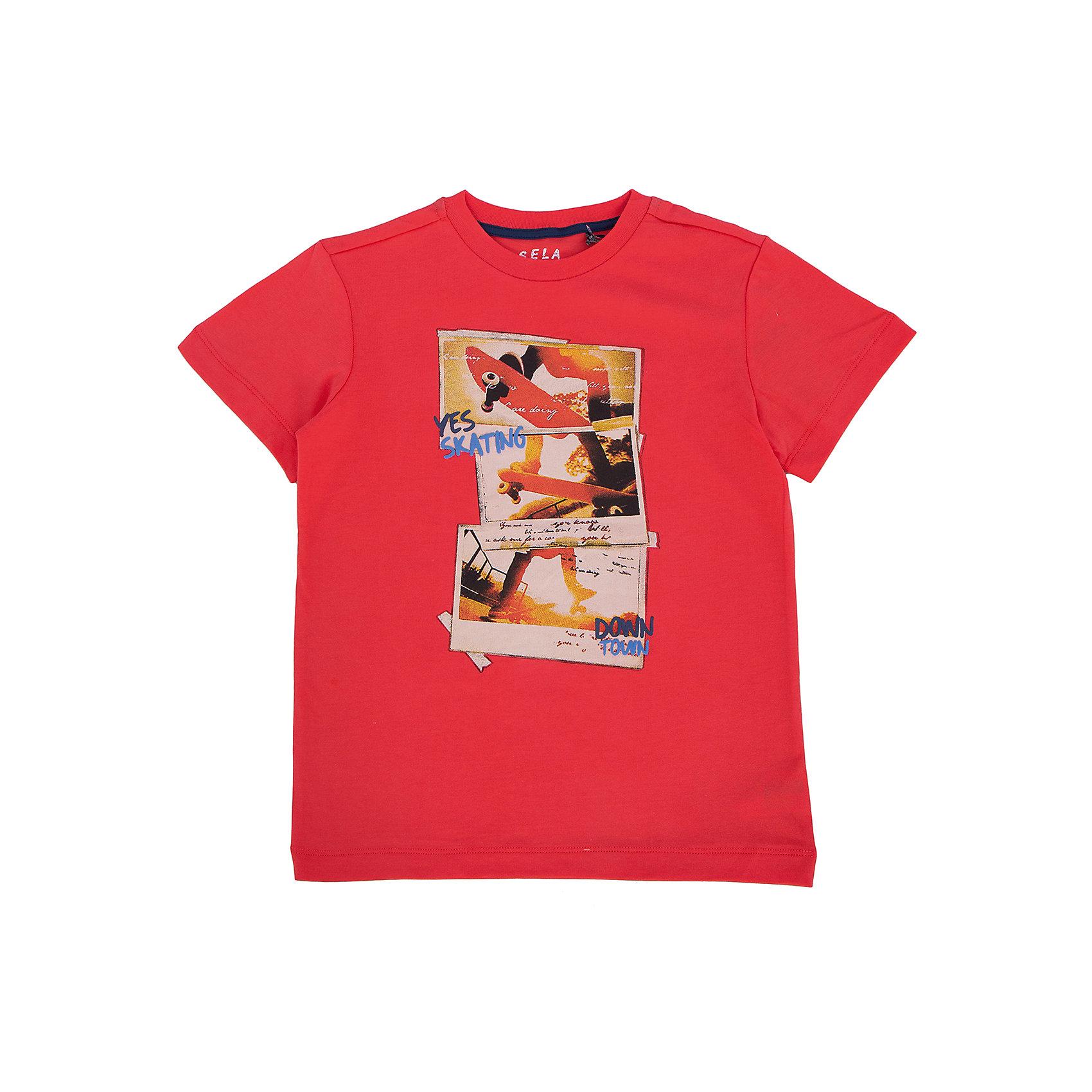 Футболка для мальчика SELAУдобная стильная футболка от известной марки SELА поможет разнообразить летний гардероб мальчика, создать легкий подходящий погоде ансамбль. Удобный крой и качественный материал обеспечат ребенку комфорт при ношении этой вещи. <br>На горловине изделия - мягкая окантовка. Материал - натуральный хлопок, дышащий и гипоаллергенный. Футболка декорирована модным принтом.<br><br>Дополнительная информация:<br><br>материал: 100% хлопок;<br>цвет: красный;<br>декорирована принтом;<br>короткие рукава;<br>круглый горловой вырез;<br>уход за изделием: стирка в машине при температуре до 30°С, не отбеливать, гладить при низкой температуре.<br><br>Футболку от бренда SELА (Села) можно купить в нашем магазине.<br><br>Ширина мм: 230<br>Глубина мм: 40<br>Высота мм: 220<br>Вес г: 250<br>Цвет: красный<br>Возраст от месяцев: 132<br>Возраст до месяцев: 144<br>Пол: Мужской<br>Возраст: Детский<br>Размер: 152,116,122,128,134,140,146<br>SKU: 4741271